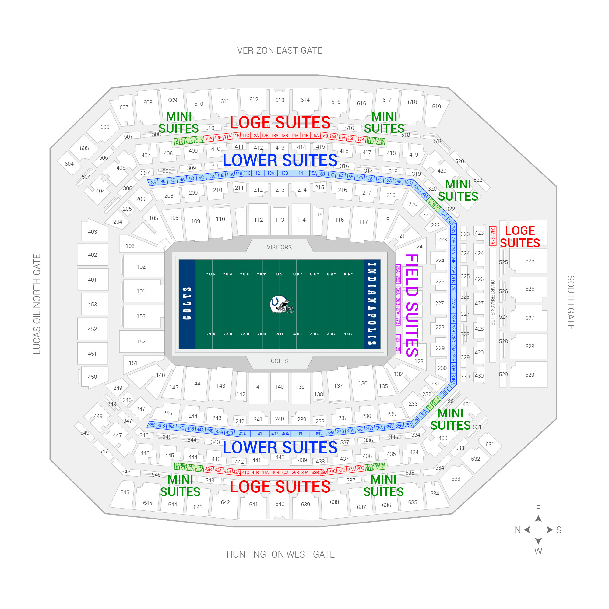 Lucas Oil Stadium /  Suite Map and Seating Chart