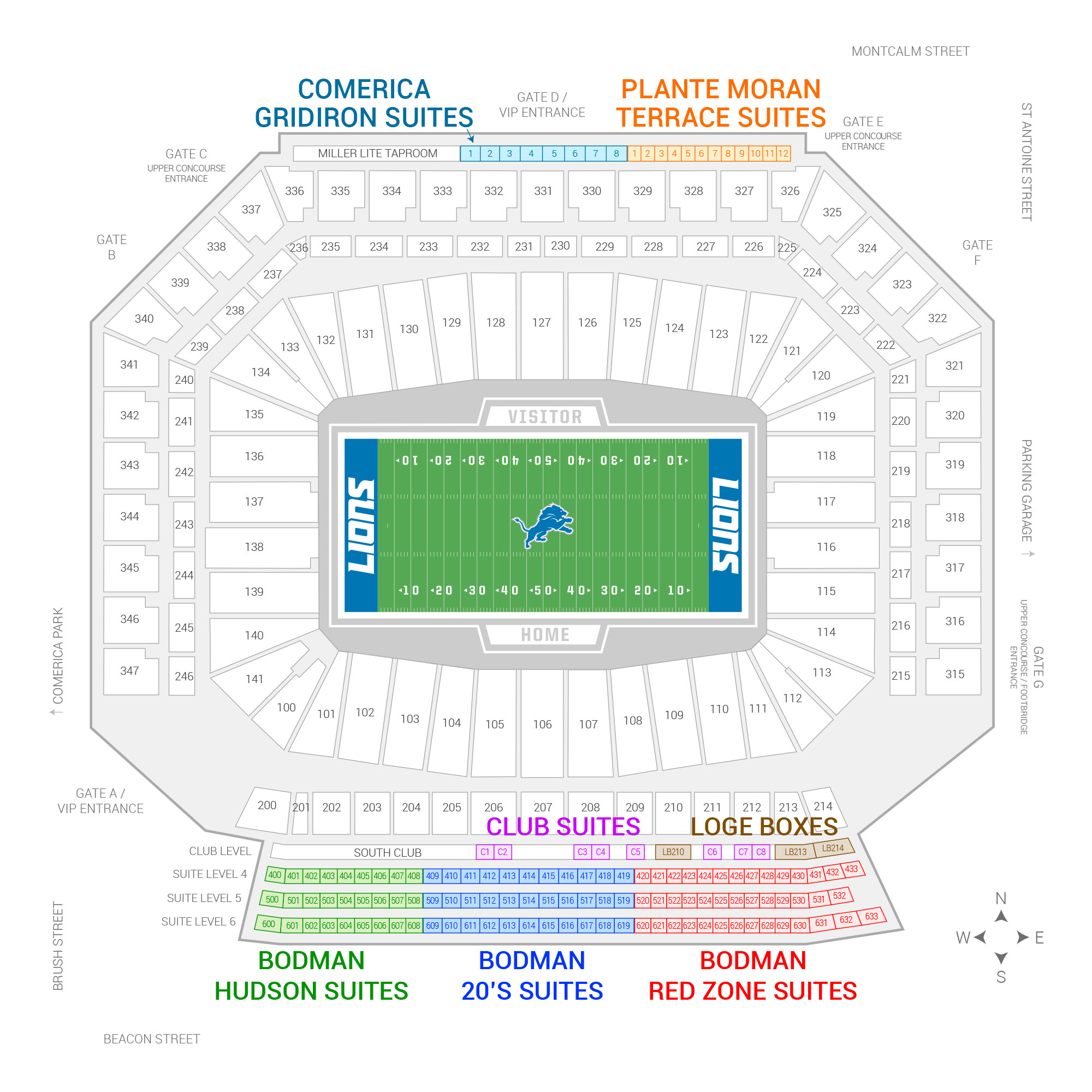 69e99173 Ford Field / Detroit Lions Suite Map and Seating Chart