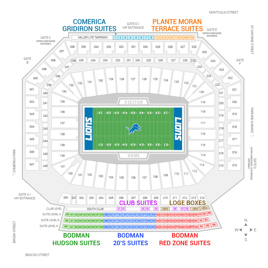 Ford Field / Detroit Lions Suite Map and Seating Chart