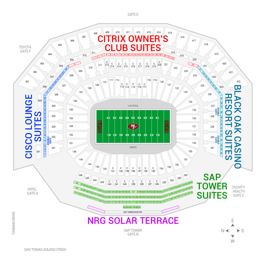 Levi S Stadium San Francisco 49ers Suite Map And Seating Chart