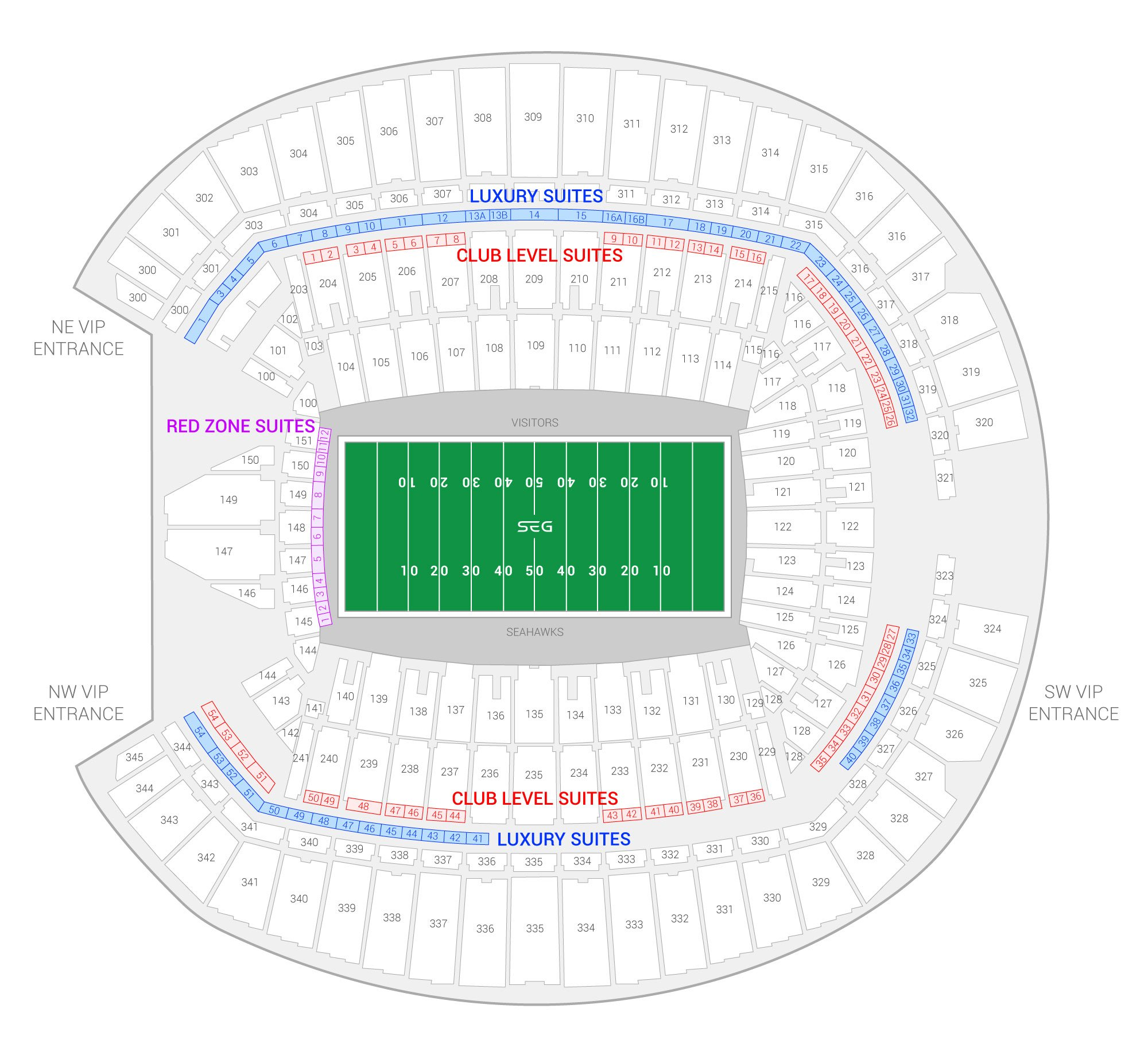 CenturyLink Field Seattle Seahawks Suite Map and Seating Chart