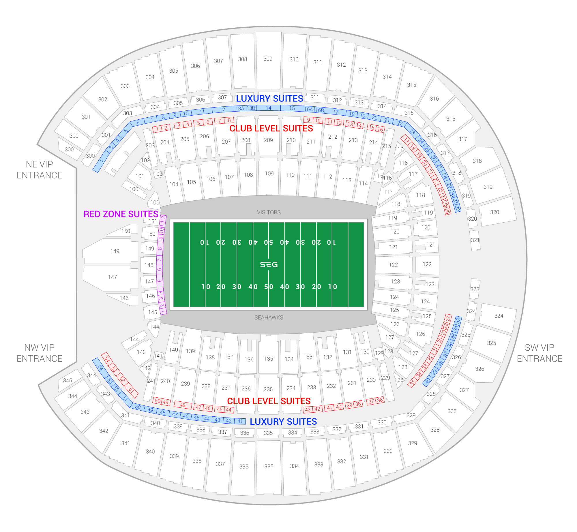 CenturyLink Field / Seattle Seahawks Suite Map and Seating Chart