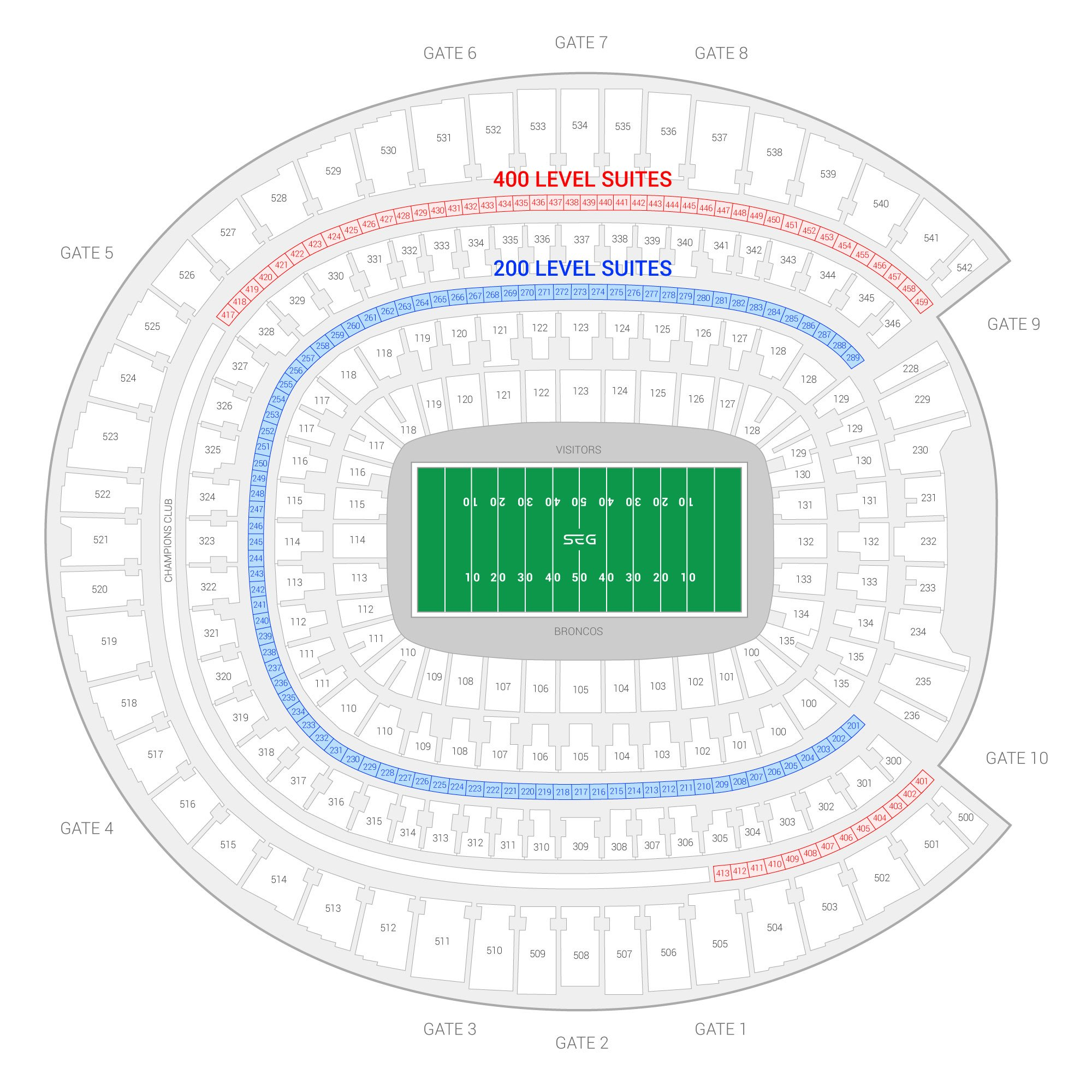 Broncos Stadium at Mile High /  Suite Map and Seating Chart