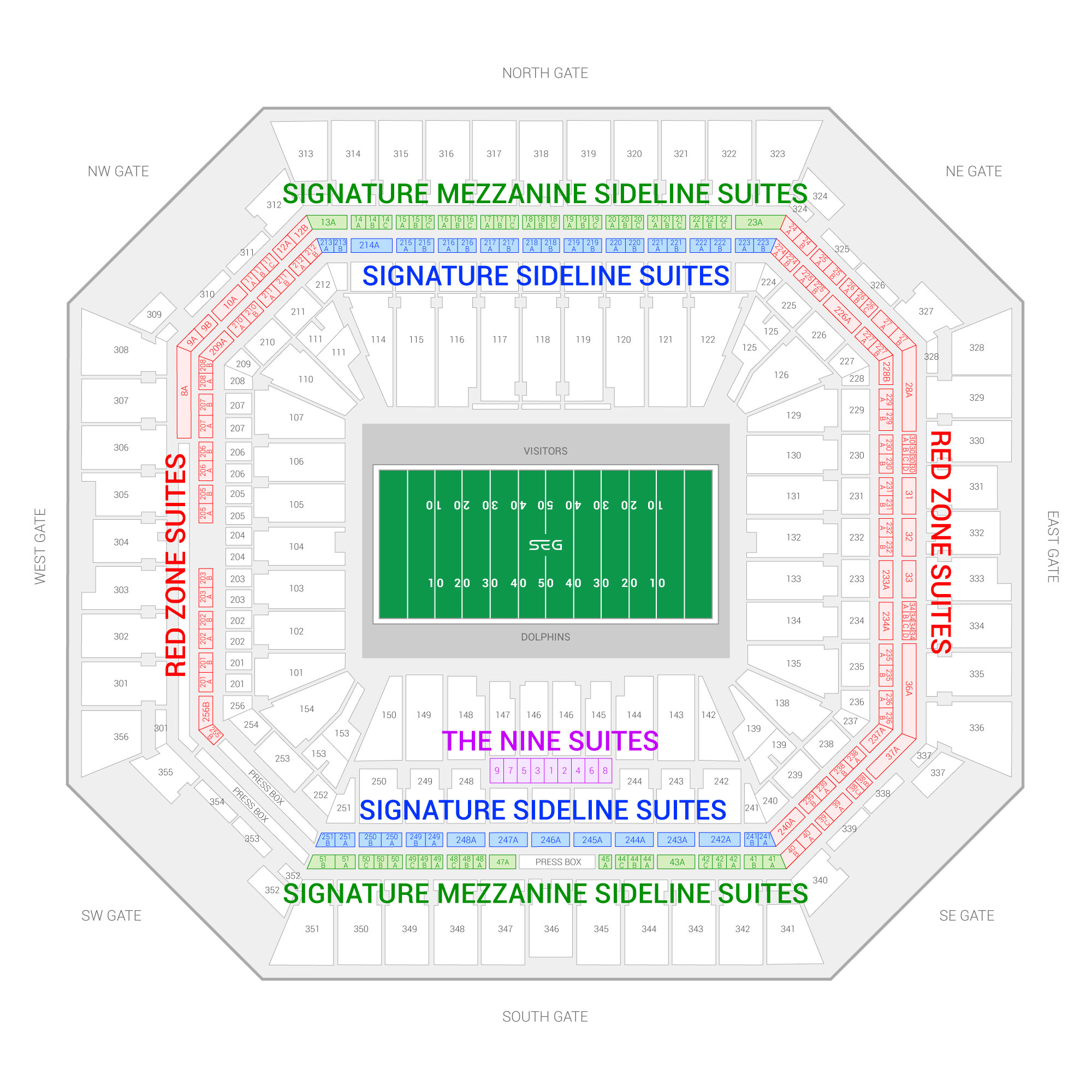 Hard Rock Stadium / Miami Dolphins Suite Map and Seating Chart