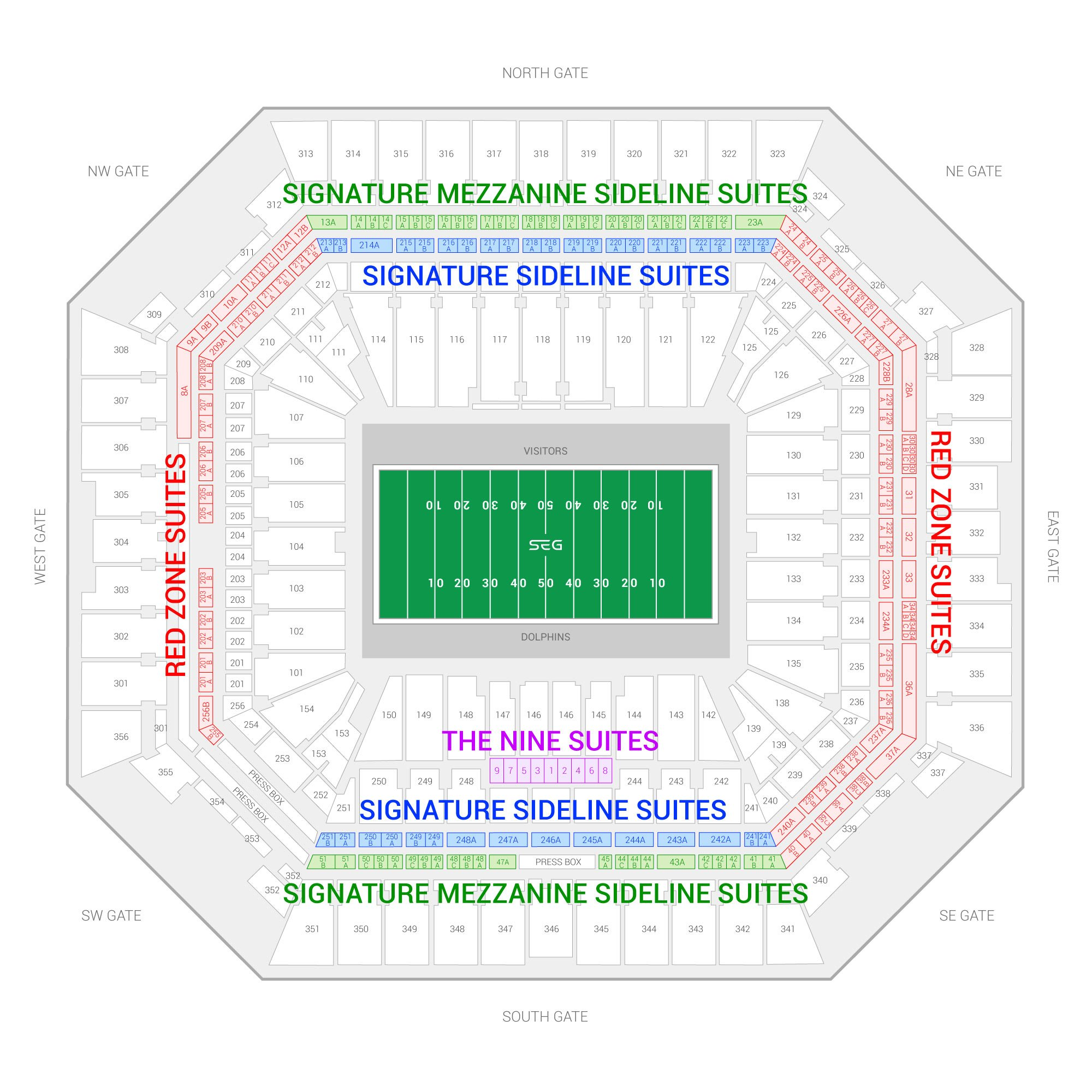 Hard Rock Stadium /  Suite Map and Seating Chart