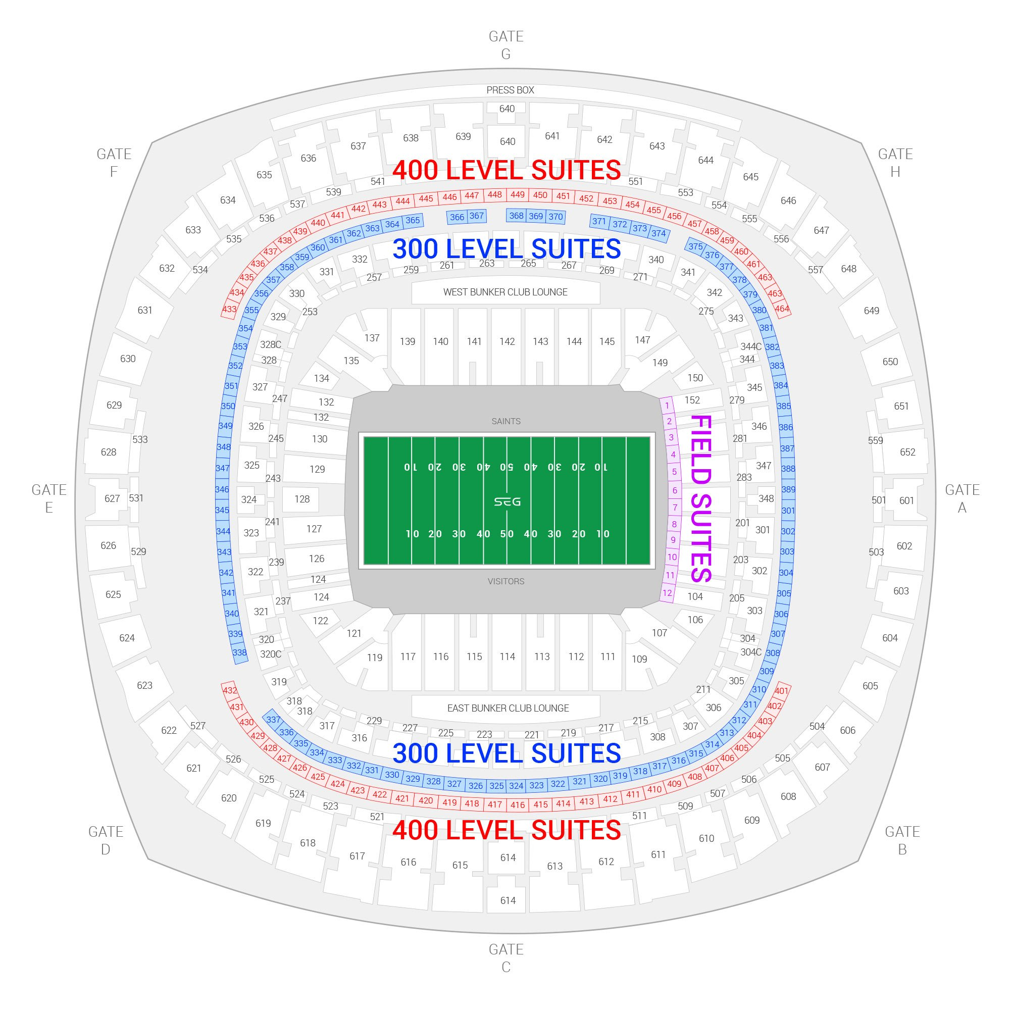 Mercedes-Benz Superdome / New Orleans Saints Suite Map and Seating Chart