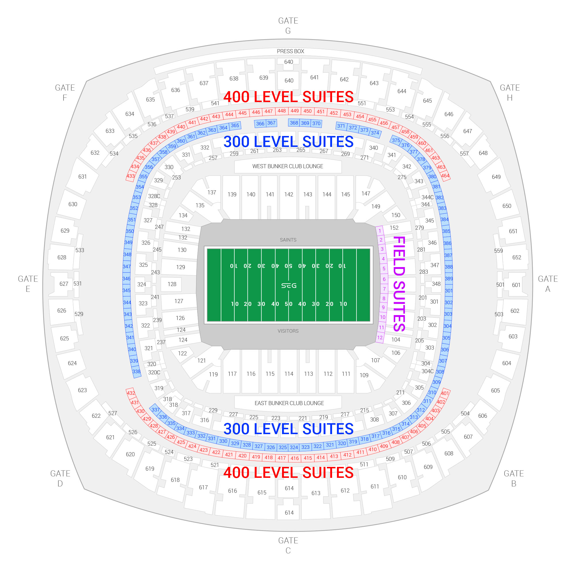 Caesars Superdome (Formerly Mercedes-Benz Superdome) / New Orleans Saints Suite Map and Seating Chart