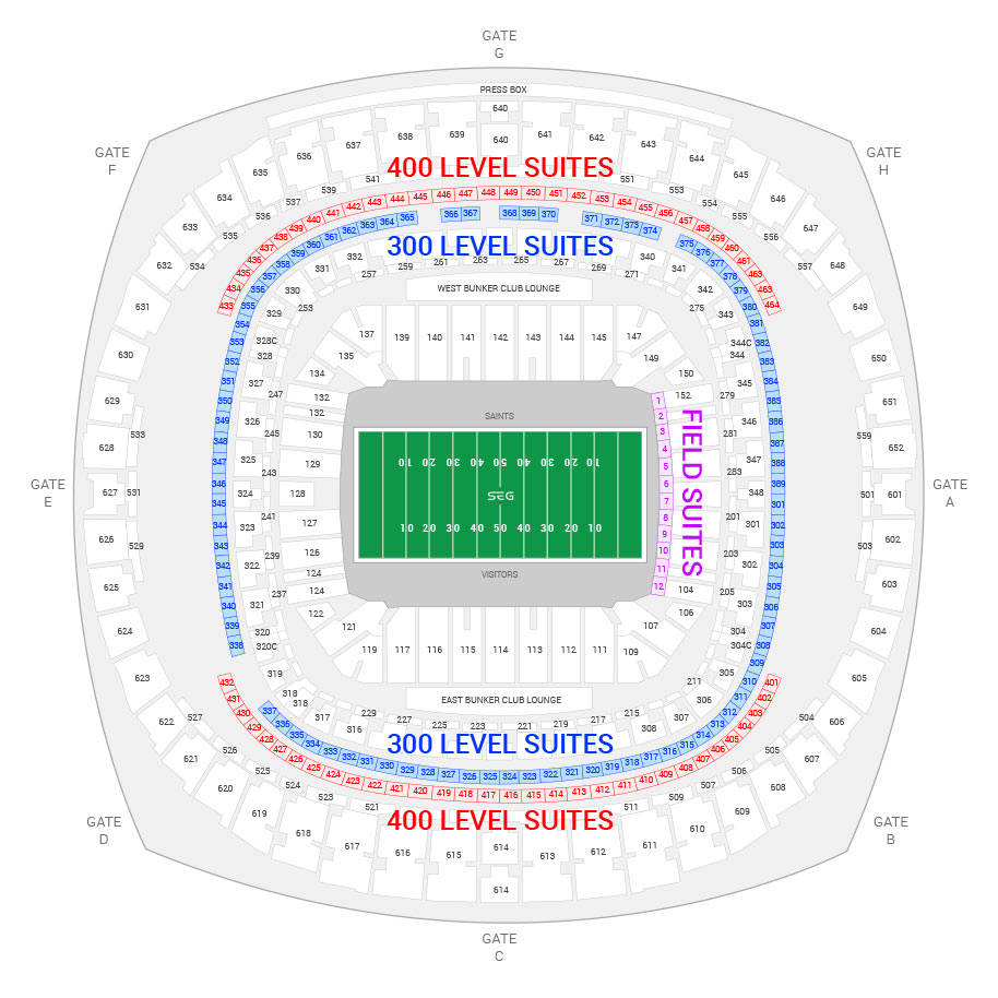 Mercedes Benz Superdome New Orleans Saints Suite Map And Seating Chart