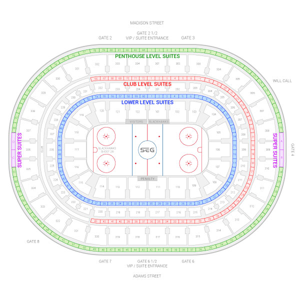 United Center / Chicago Blackhawks Suite Map and Seating Chart