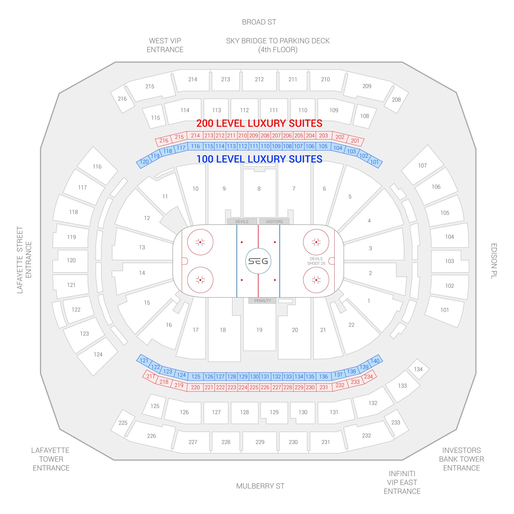 Prudential Center /  Suite Map and Seating Chart
