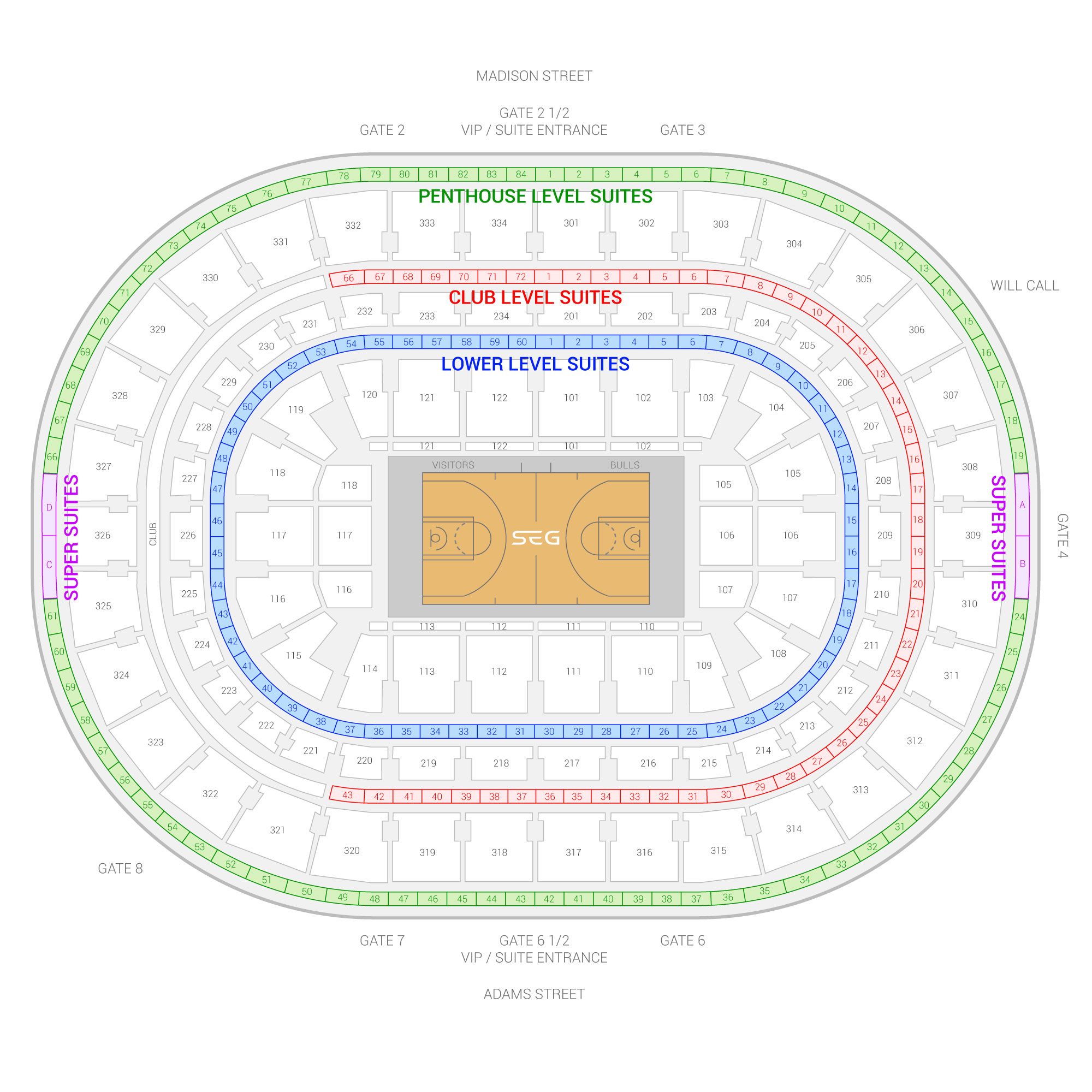 United Center / Chicago Bulls Suite Map and Seating Chart