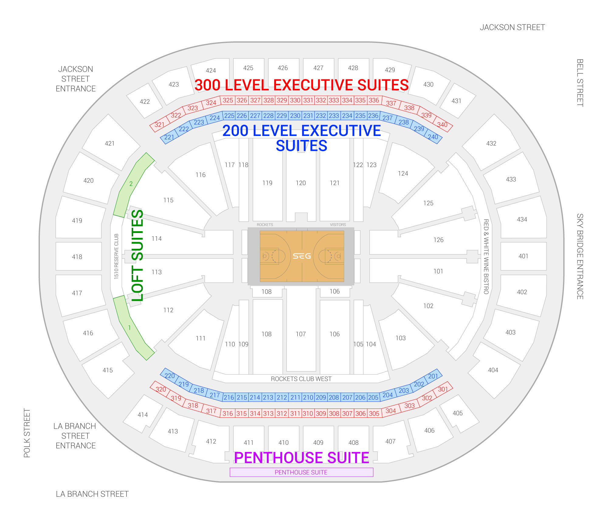 Toyota Center / Houston Rockets Suite Map and Seating Chart