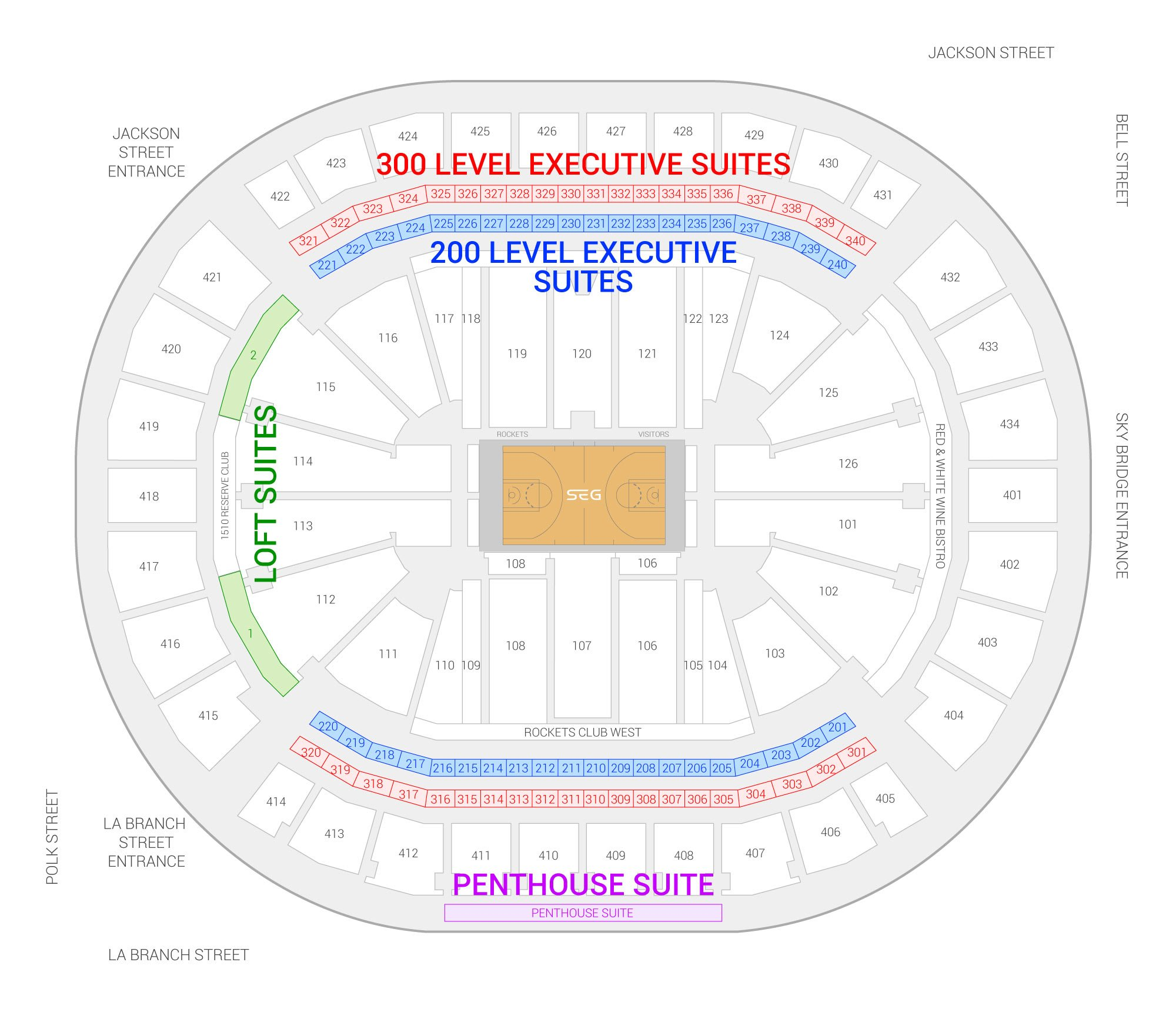 Toyota Center /  Suite Map and Seating Chart