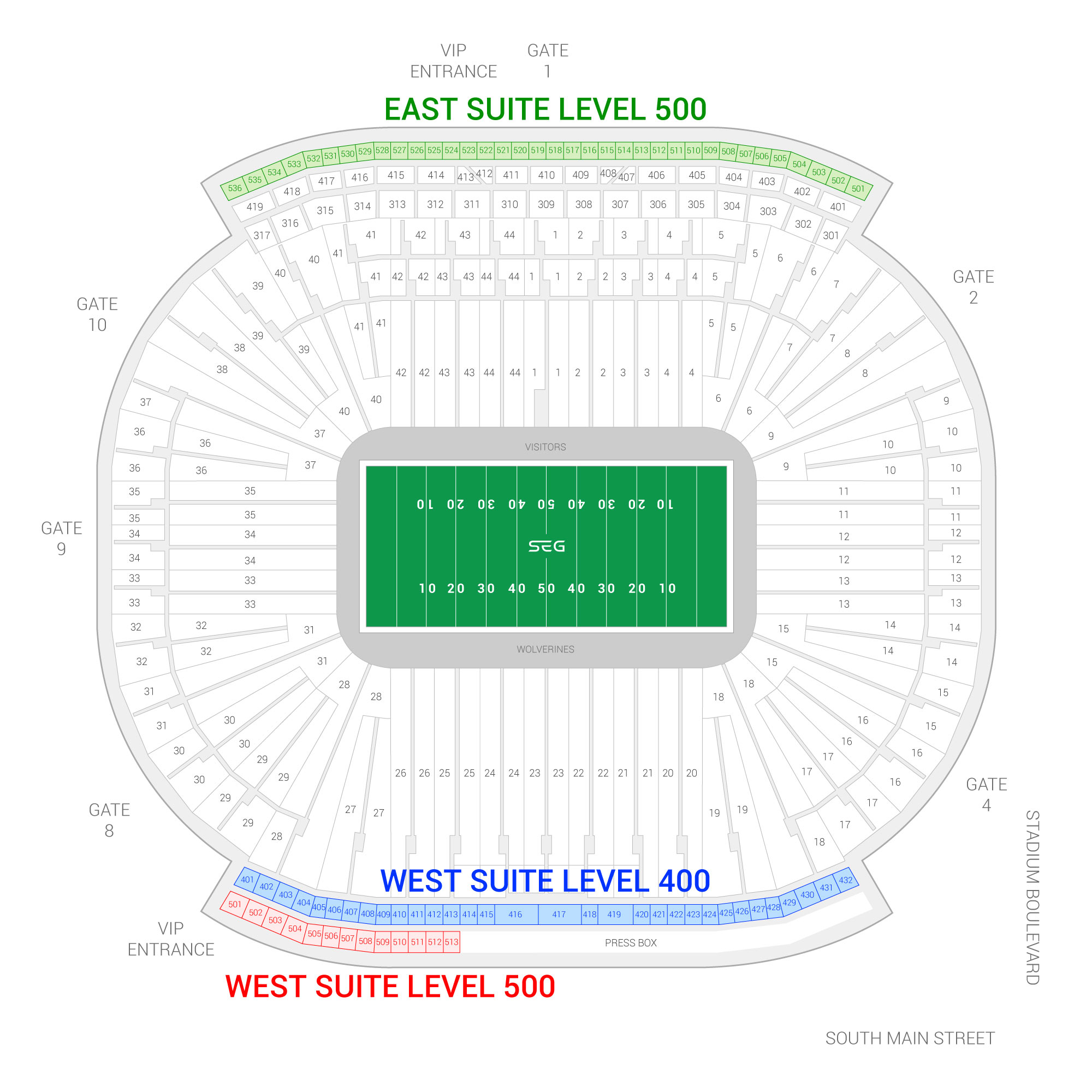 Michigan Stadium / Michigan Wolverines Suite Map and Seating Chart