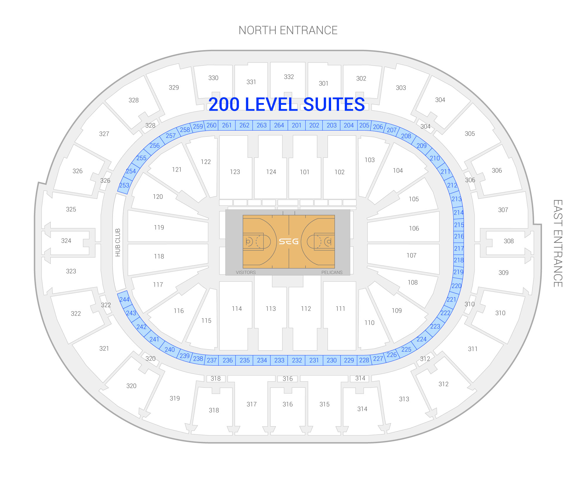 Smoothie King Center /  Suite Map and Seating Chart