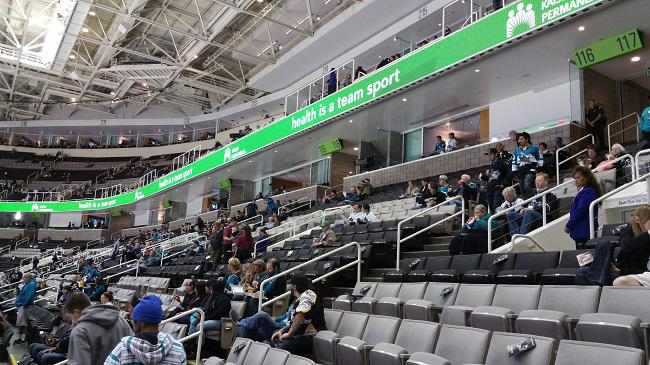 Private suites wrap around the ice rink