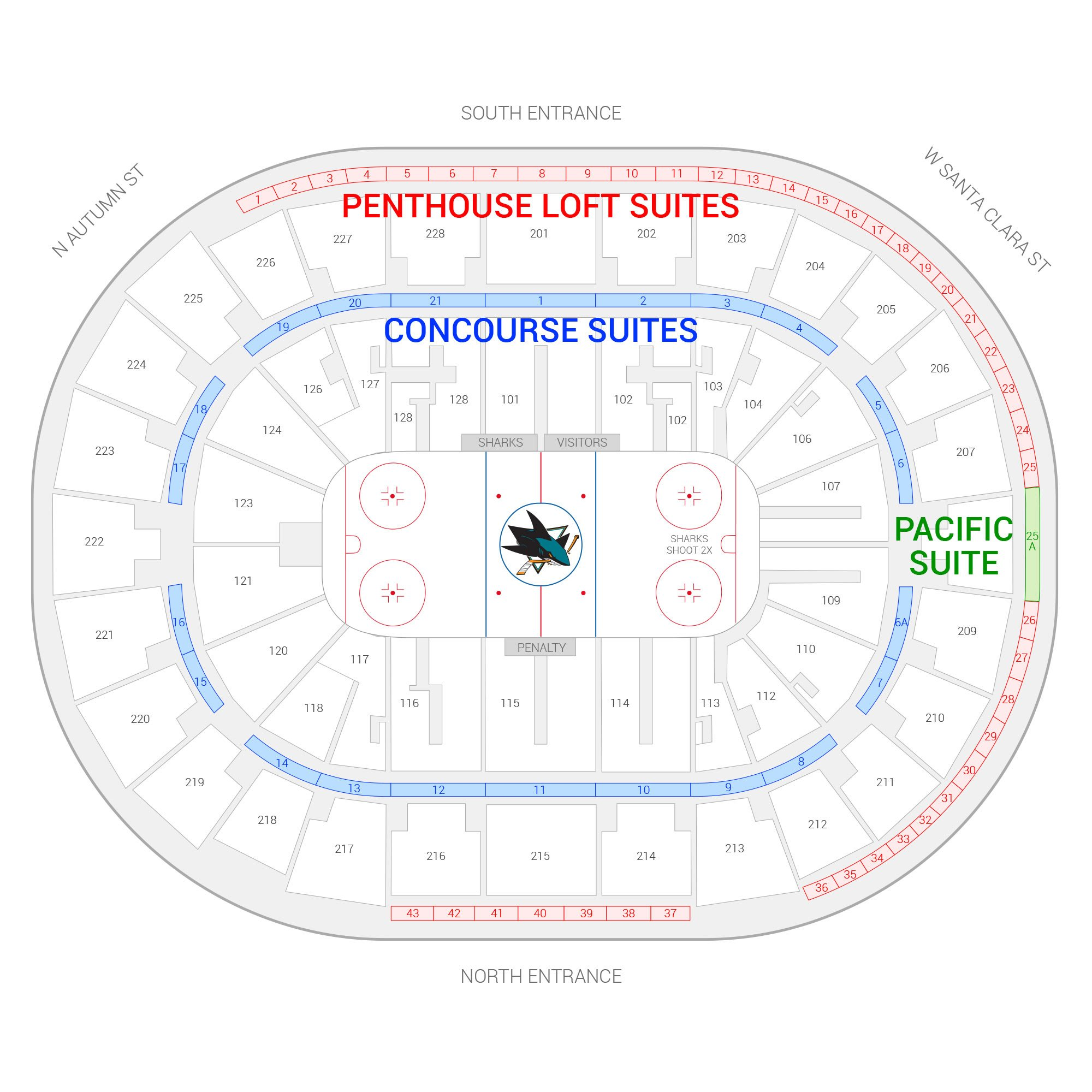 SAP Center / San Jose Sharks Suite Map and Seating Chart