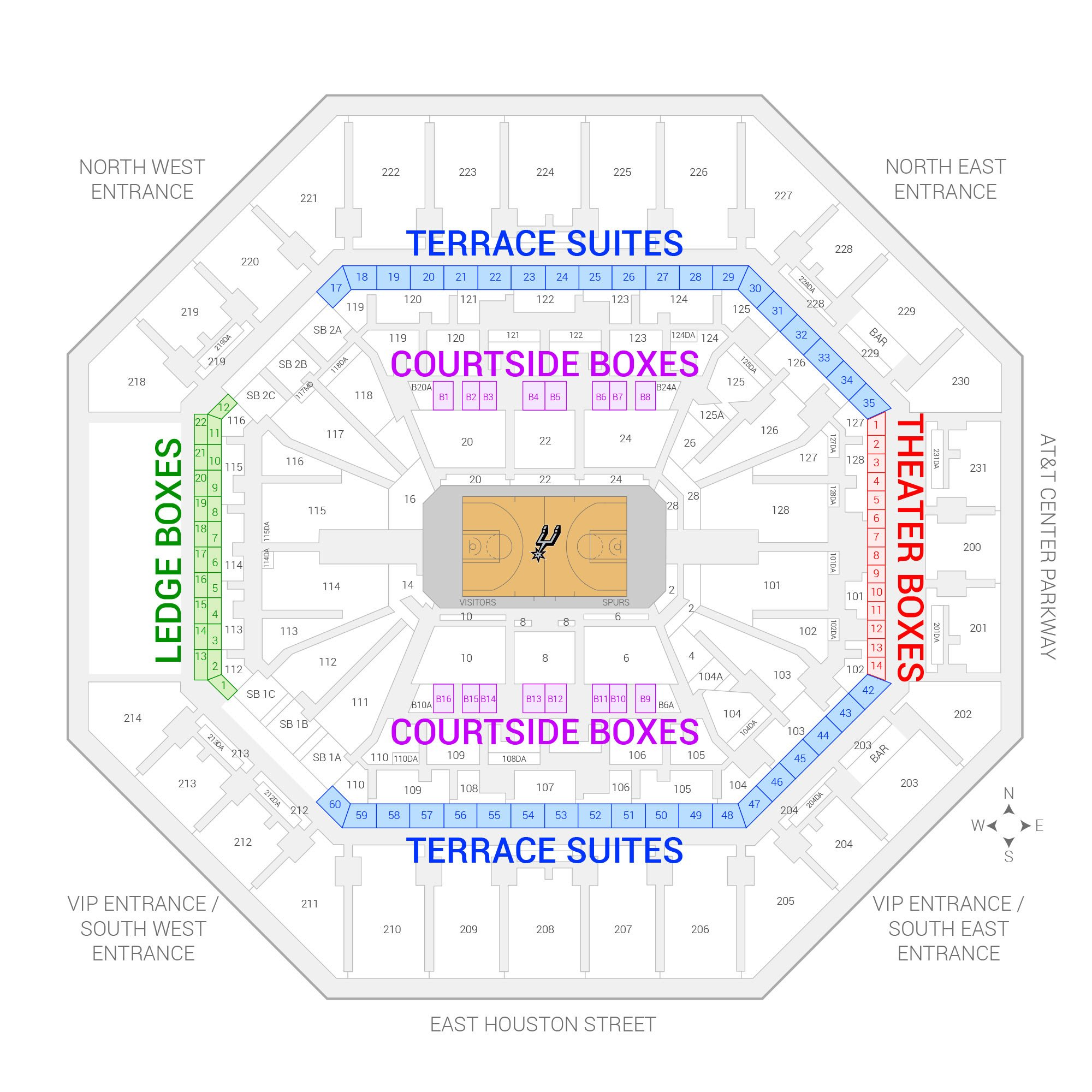 AT&T Center /  Suite Map and Seating Chart