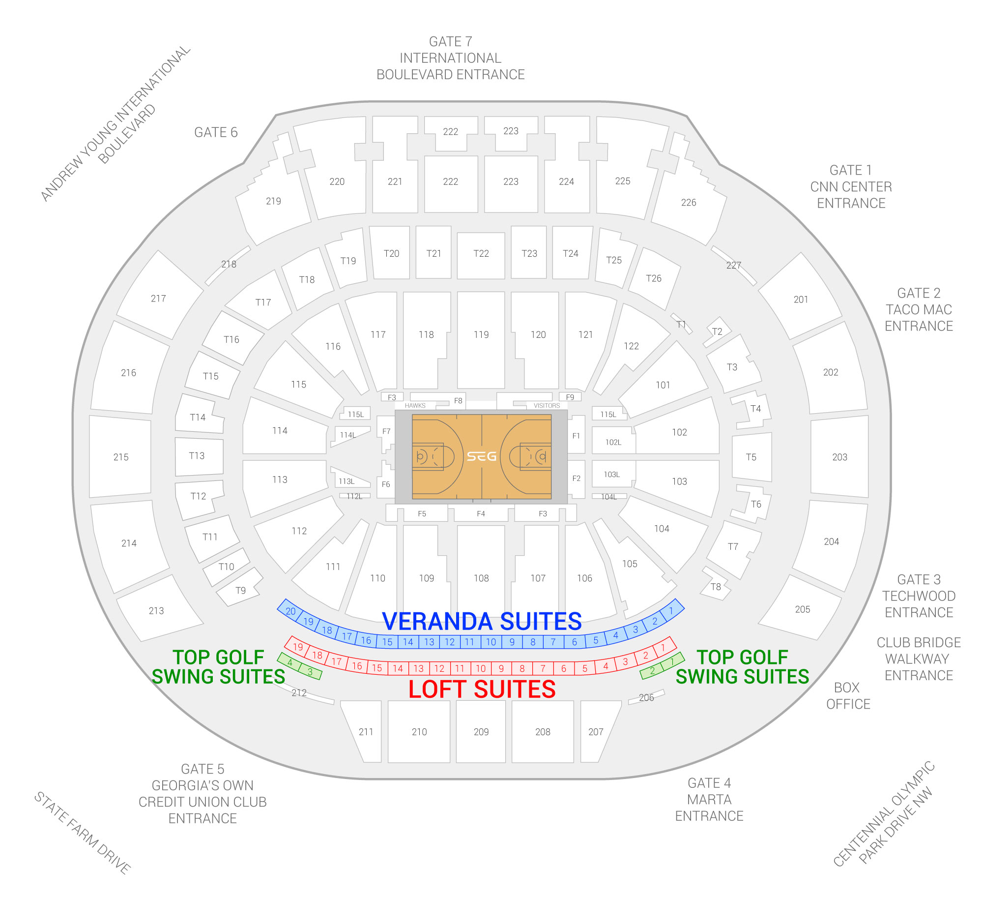 State Farm Arena /  Suite Map and Seating Chart
