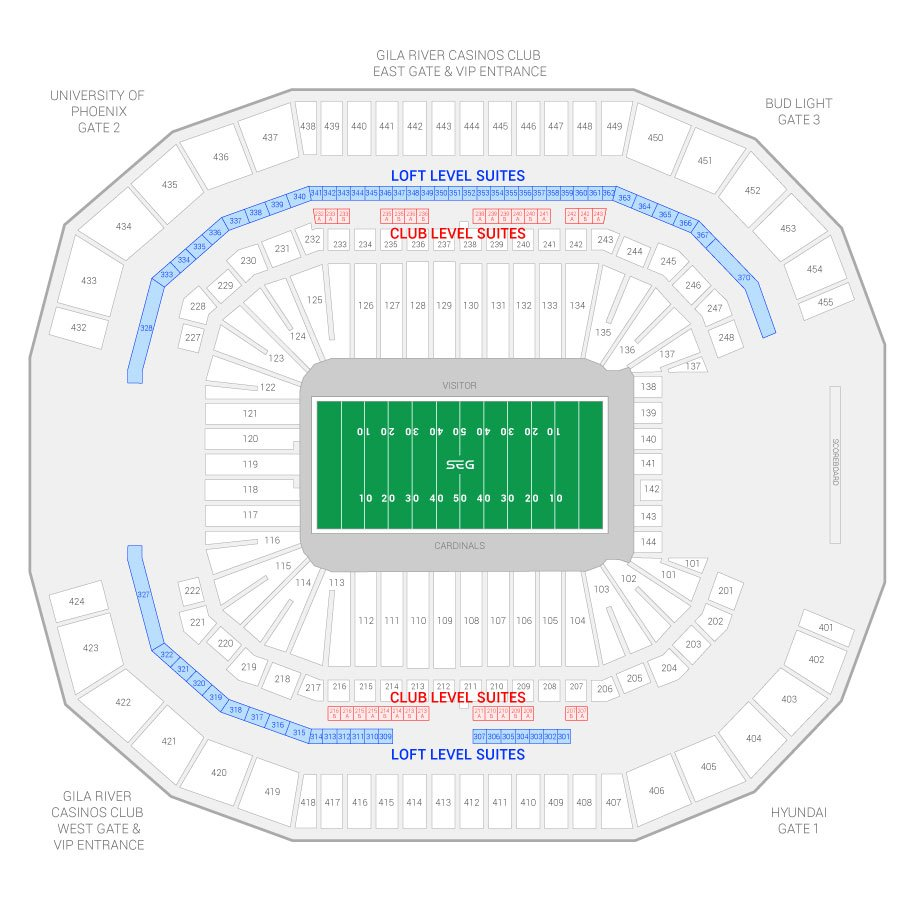 State Farm Stadium Formerly University Of Phoenix Arizona Cardinals Suite Map And
