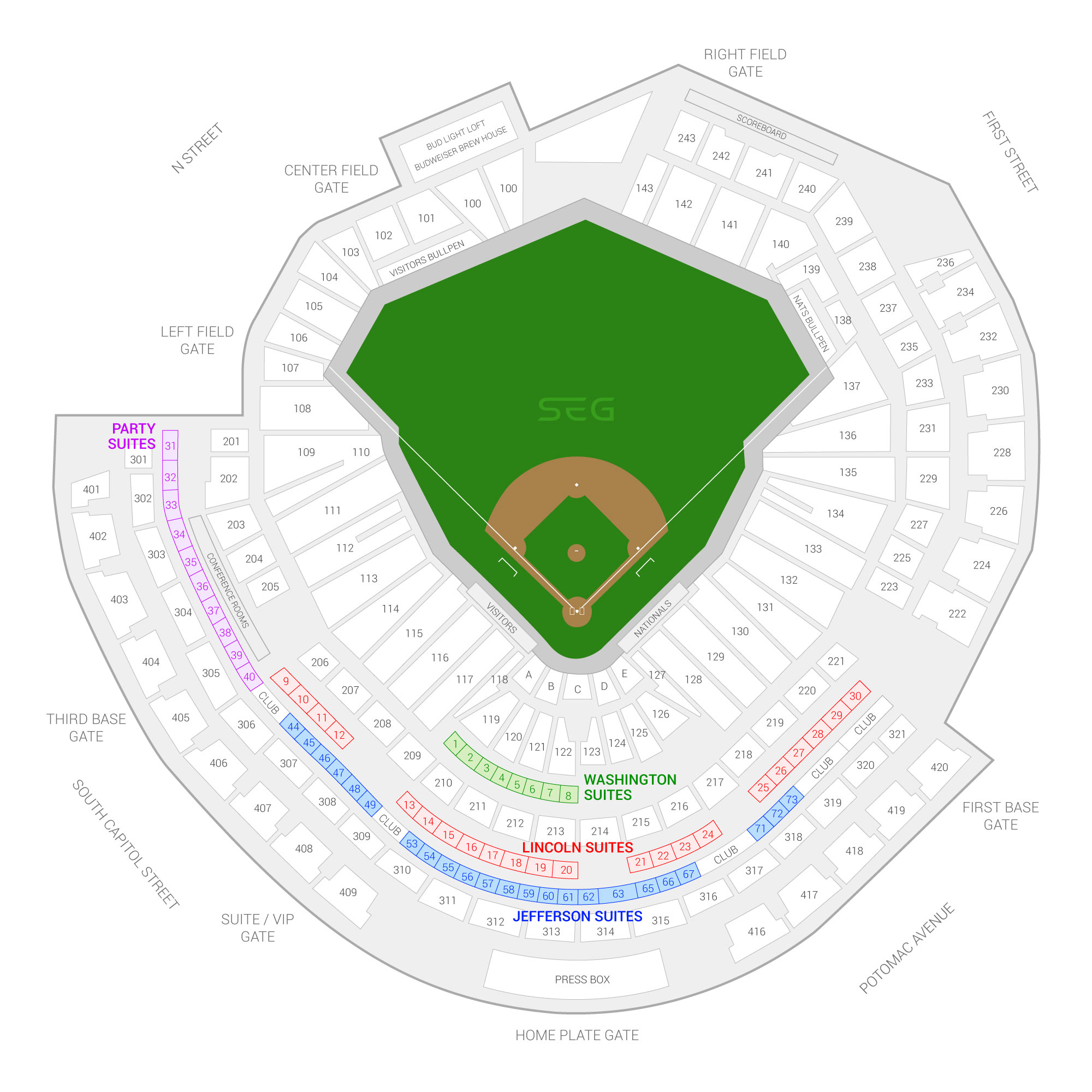 Nationals Park Washington Nationals Suite Map and Seating Chart