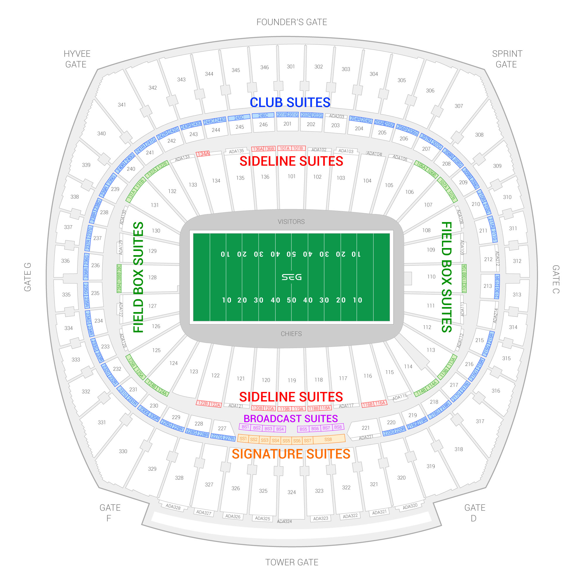 Arrowhead Stadium / Kansas City Chiefs Suite Map and Seating Chart