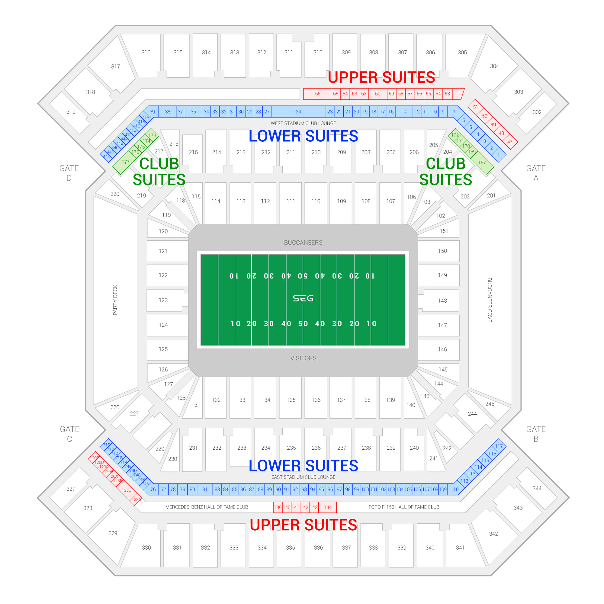 Raymond James Stadium / Tampa Bay Buccaneers Suite Map and Seating Chart
