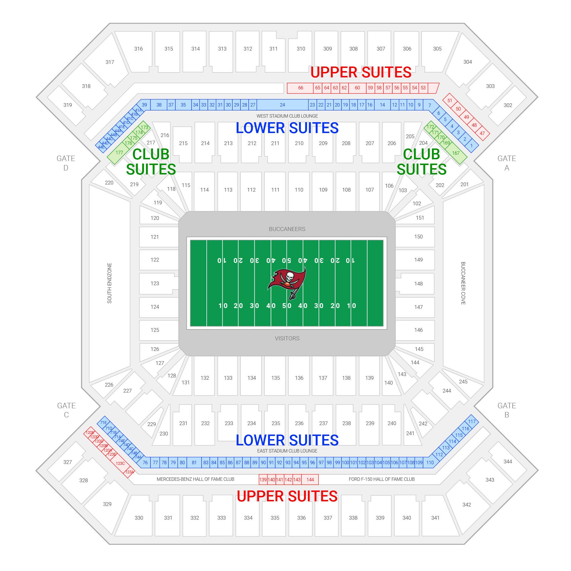 Raymond James Stadium /  Suite Map and Seating Chart