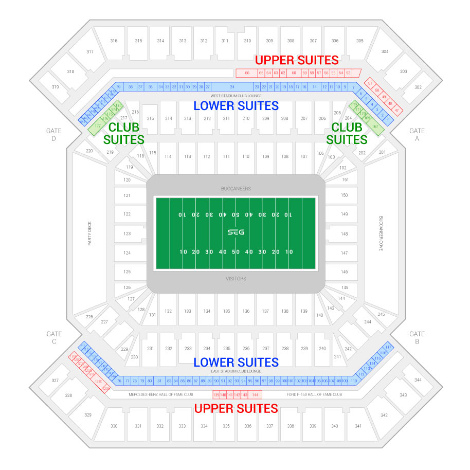 Raymond James Stadium Tampa Bay Buccaneers Suite Map And Seating Chart