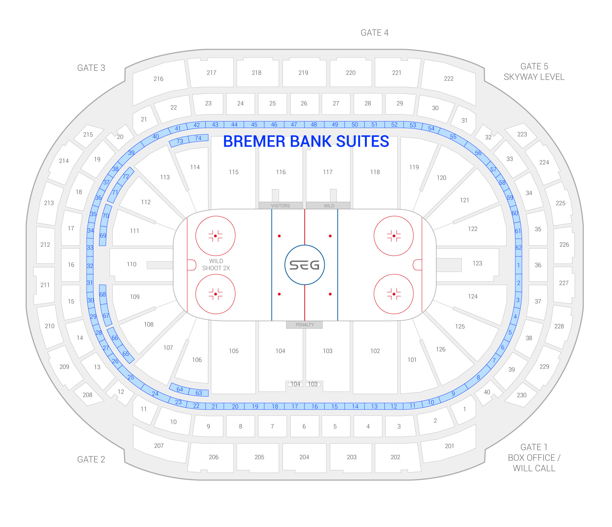 Xcel Energy Center /  Suite Map and Seating Chart