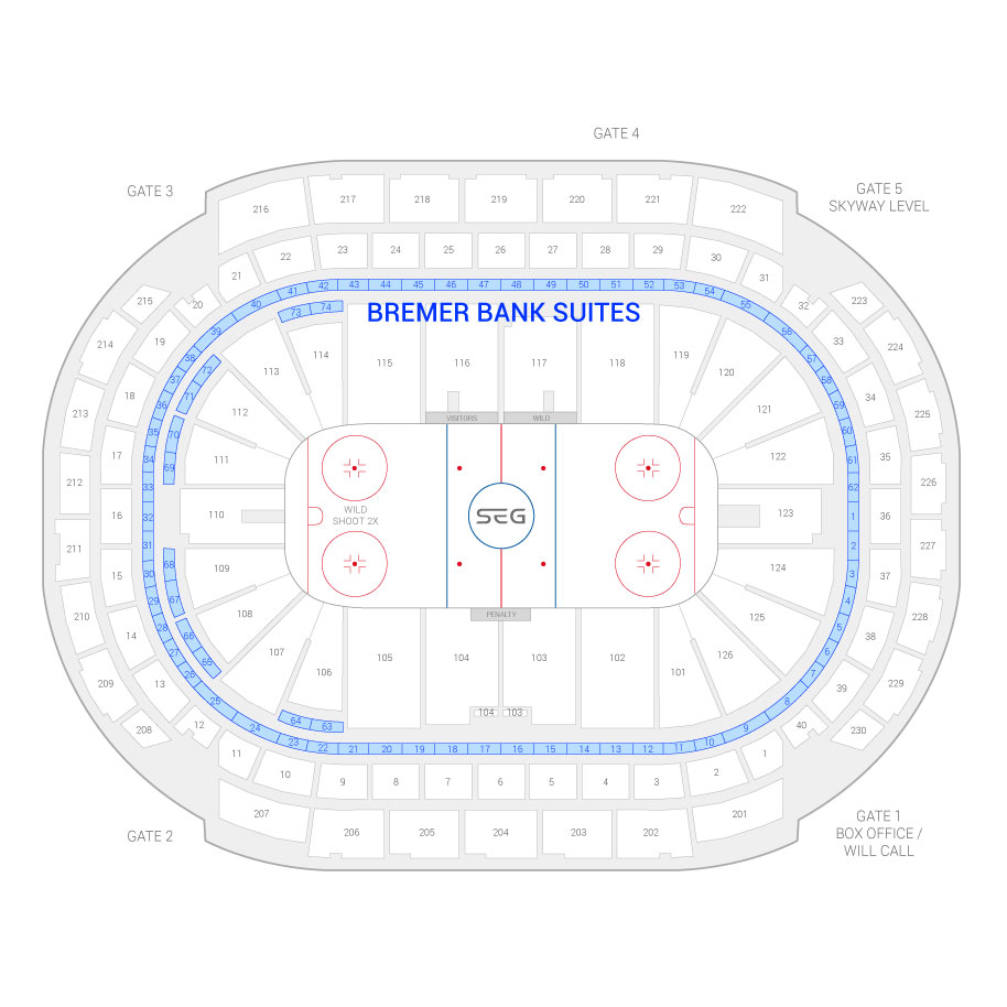 Xcel Energy Center Minnesota Wild Suite Map And Seating Chart