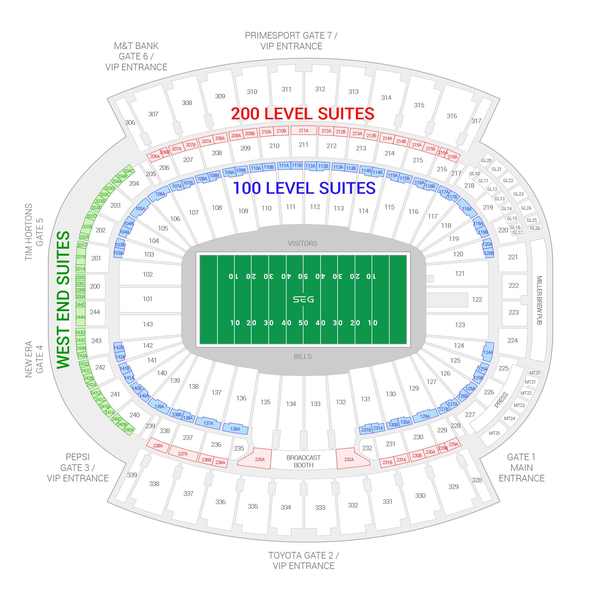 Bills Stadium (Formerly New Era Field) / Buffalo Bills Suite Map and Seating Chart