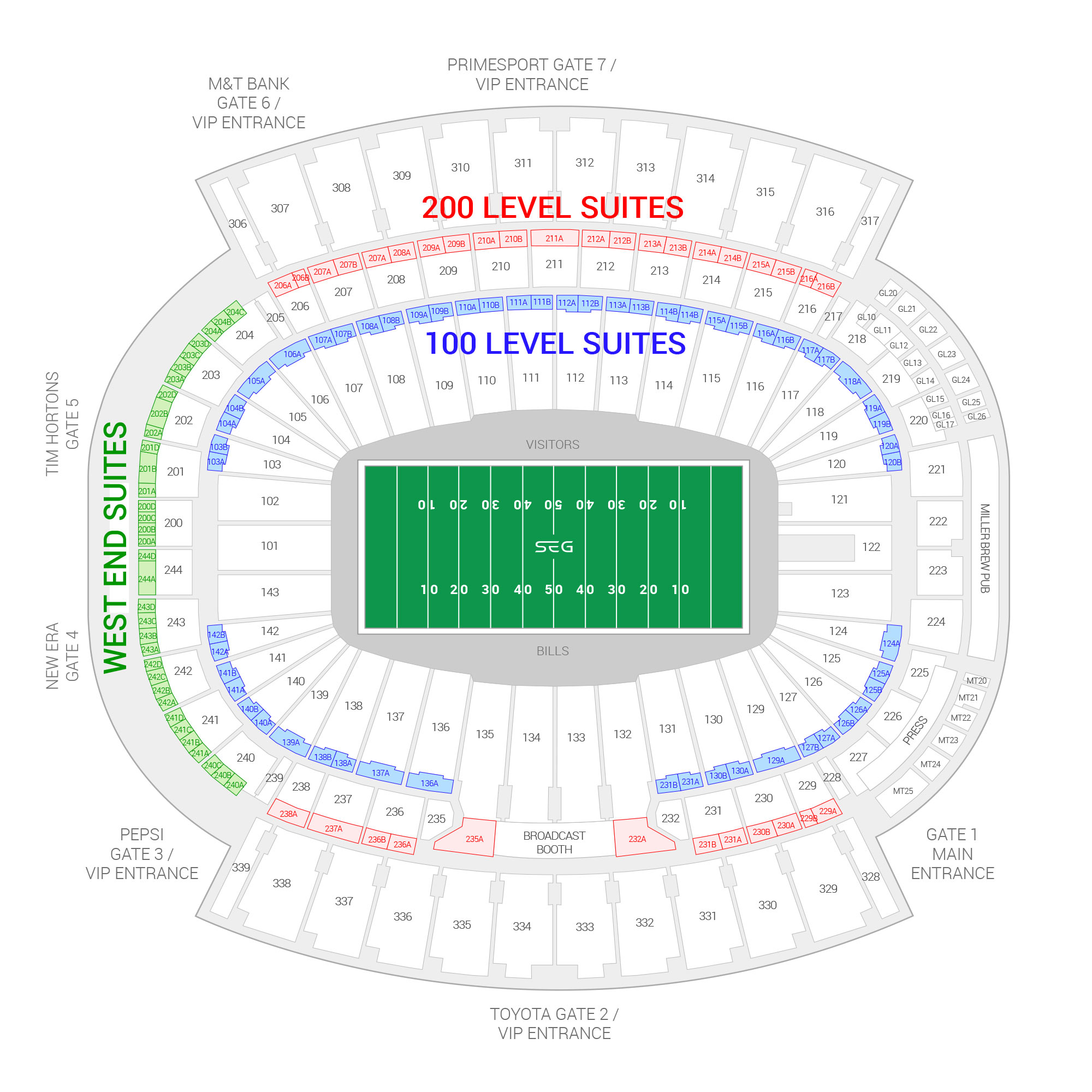 Highmark Stadium (Formerly New Era Field) / Buffalo Bills Suite Map and Seating Chart