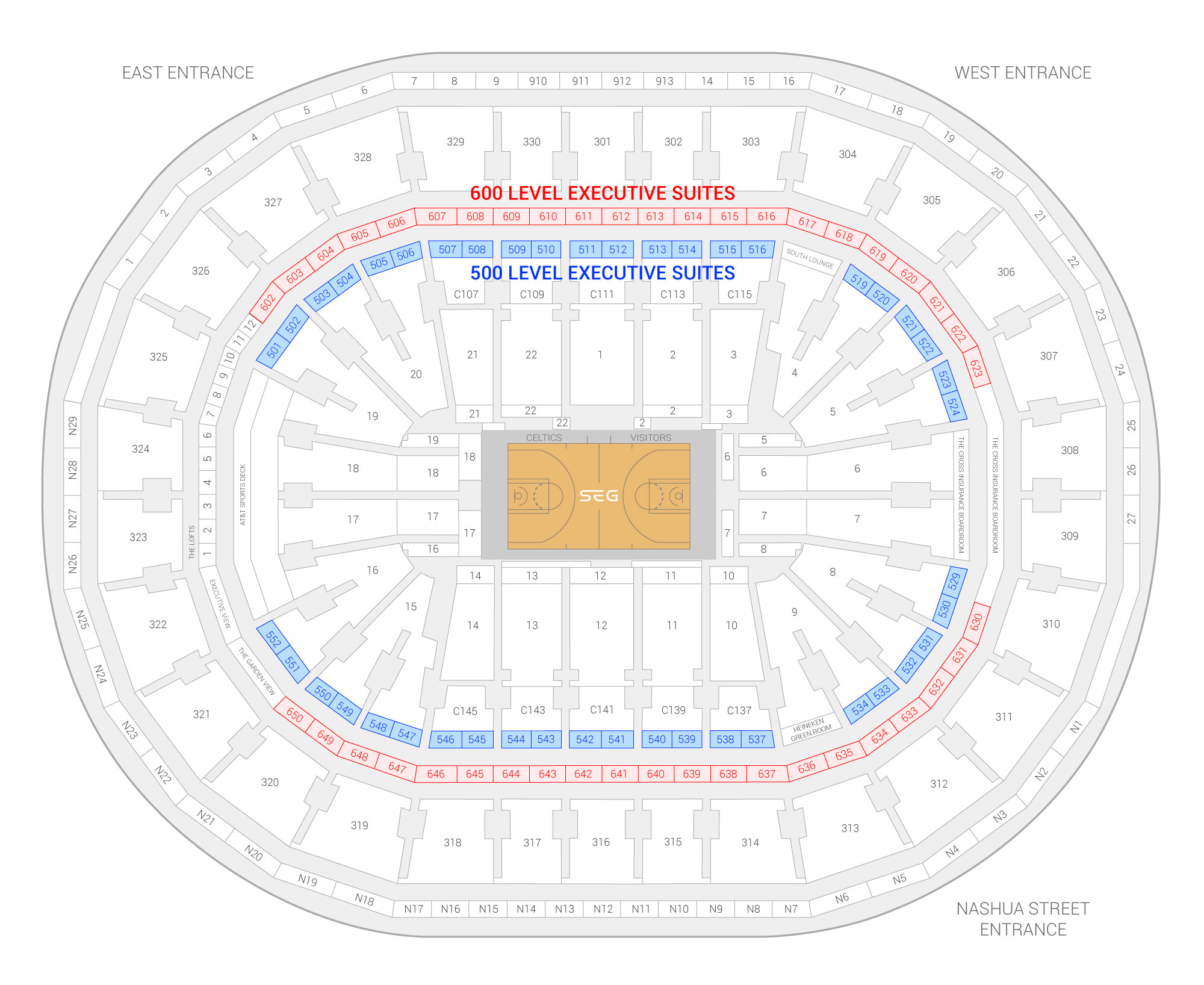 TD Garden Boston Celtics Suite Map and Seating Chart