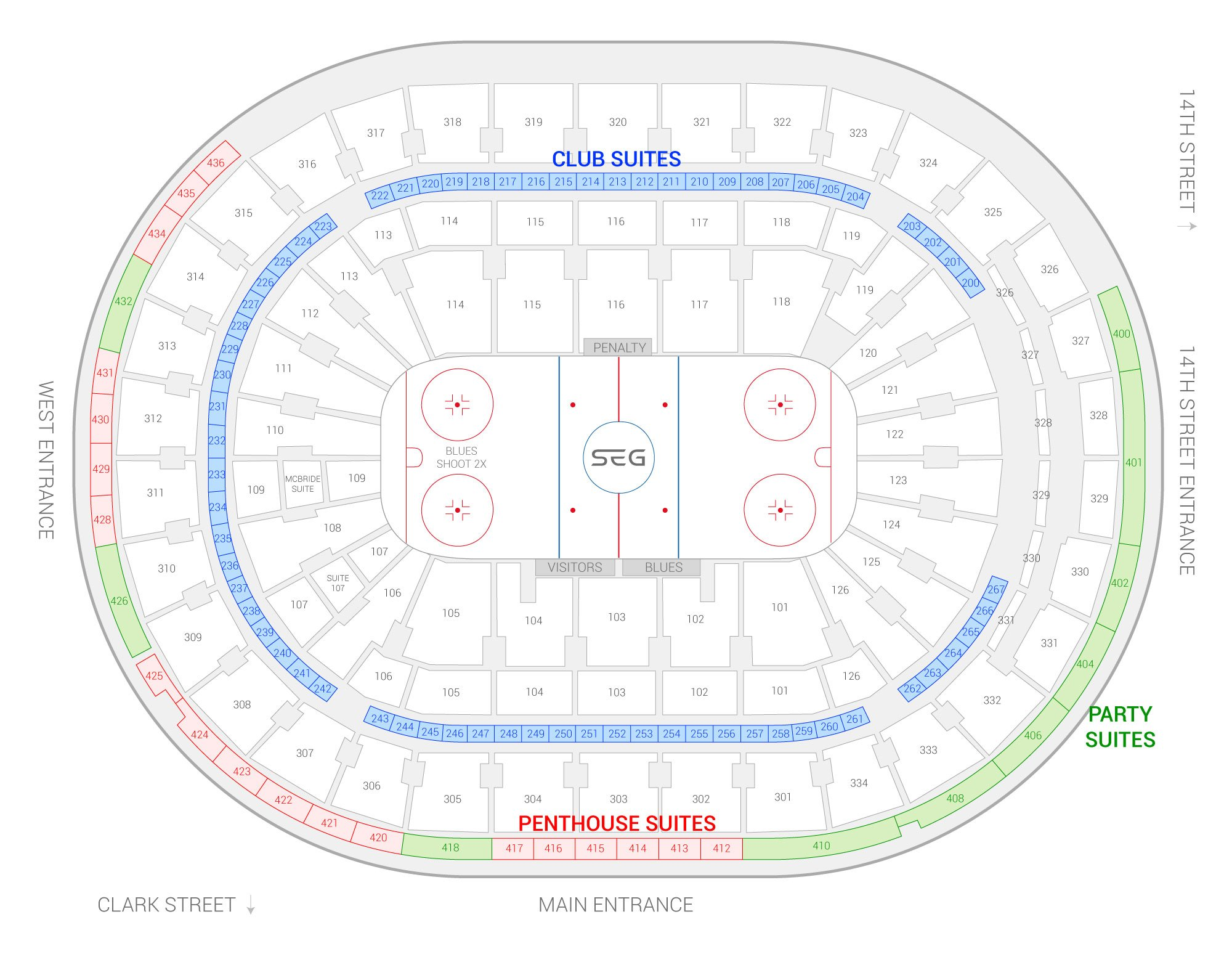 Enterprise Center / St. Louis Blues Suite Map and Seating Chart