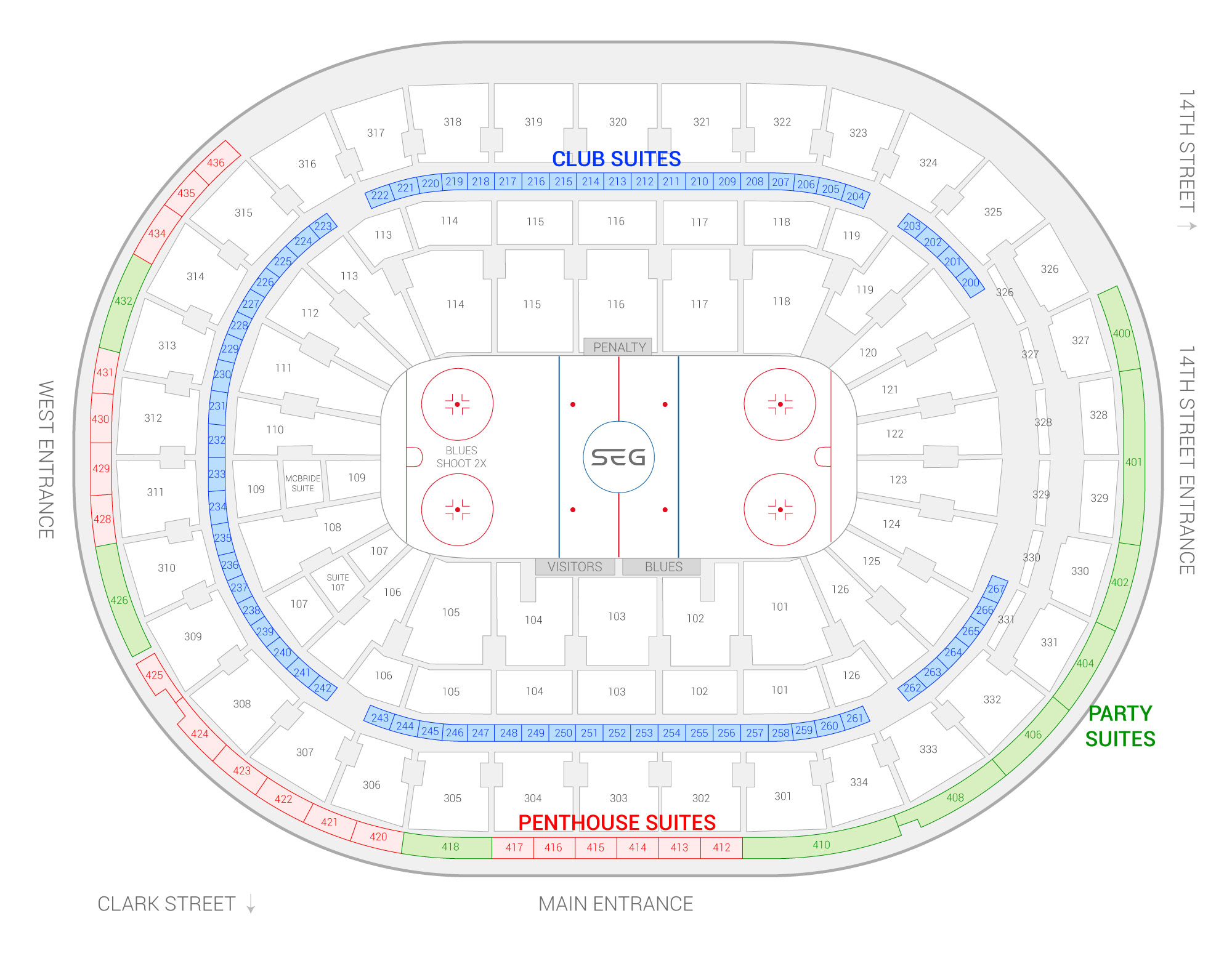 Enterprise Center /  Suite Map and Seating Chart