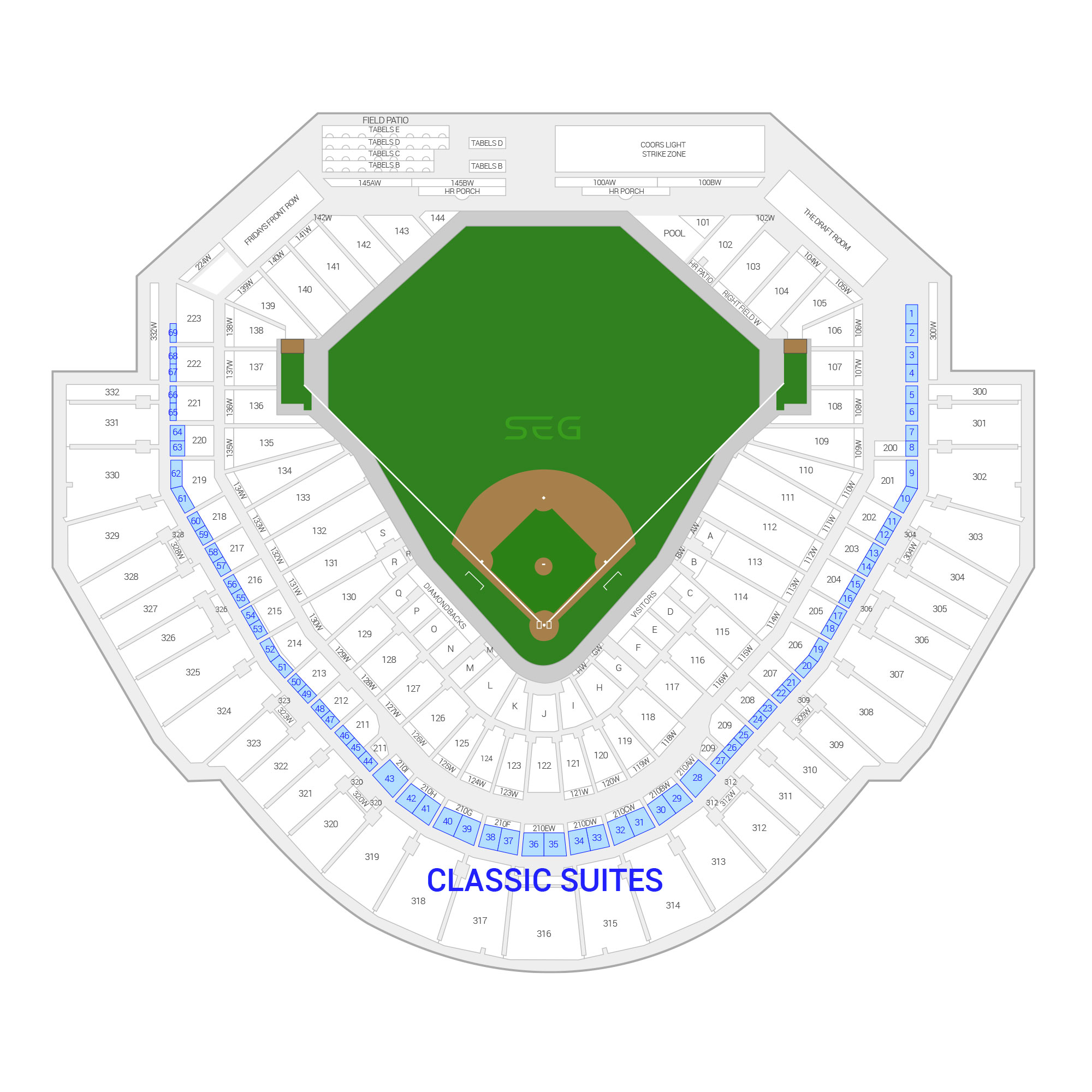 Chase Field / Arizona Diamondbacks Suite Map and Seating Chart