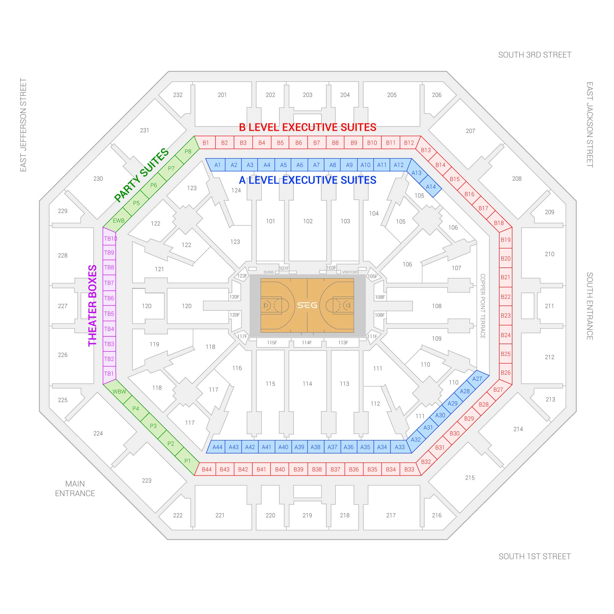 Phoenix Suns Arena (Formerly Talking Stick Resort Arena) /  Suite Map and Seating Chart