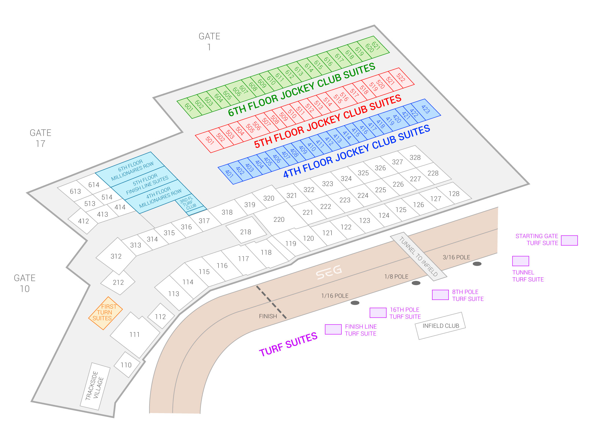 Churchill Downs /  Suite Map and Seating Chart