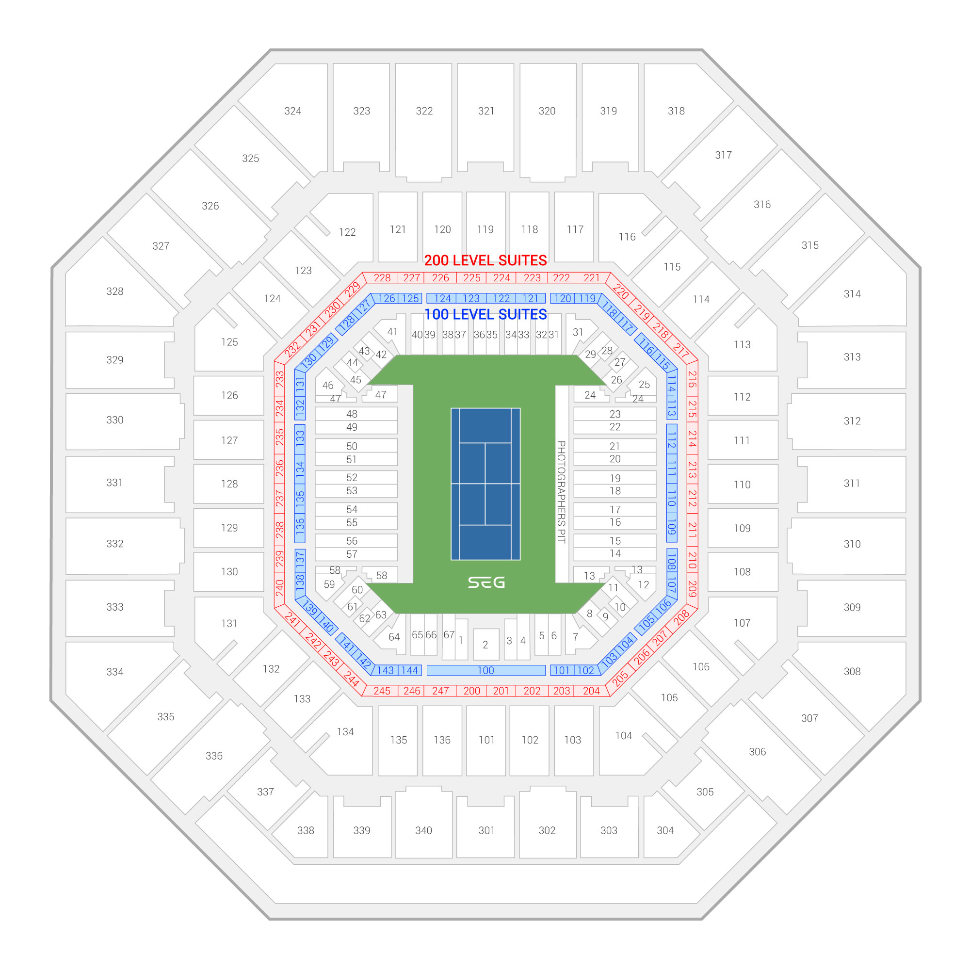 Arthur Ashe Stadium /  Suite Map and Seating Chart