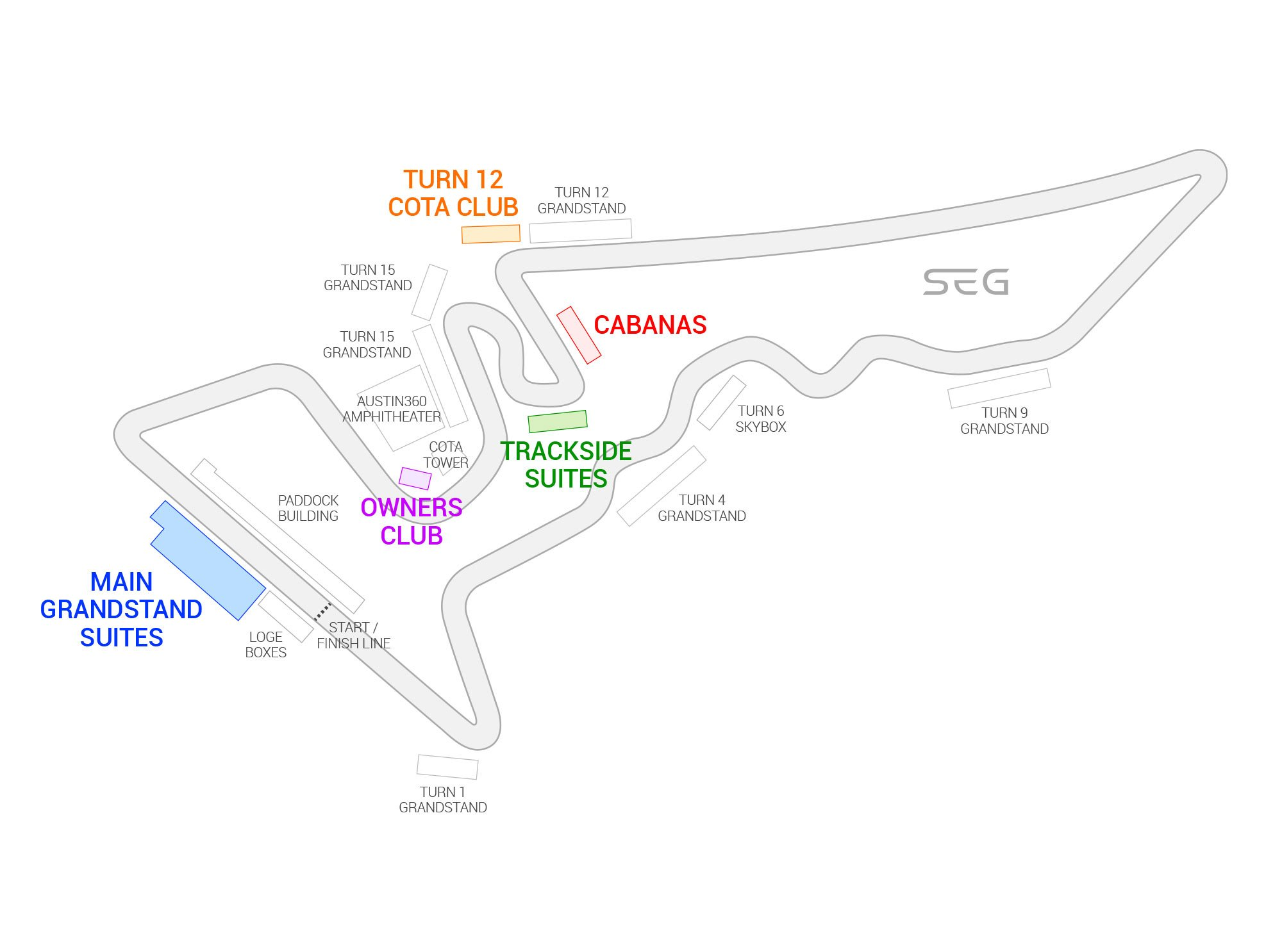 Circuit of the Americas / Formula 1 United States Grand Prix Suite Map and Seating Chart