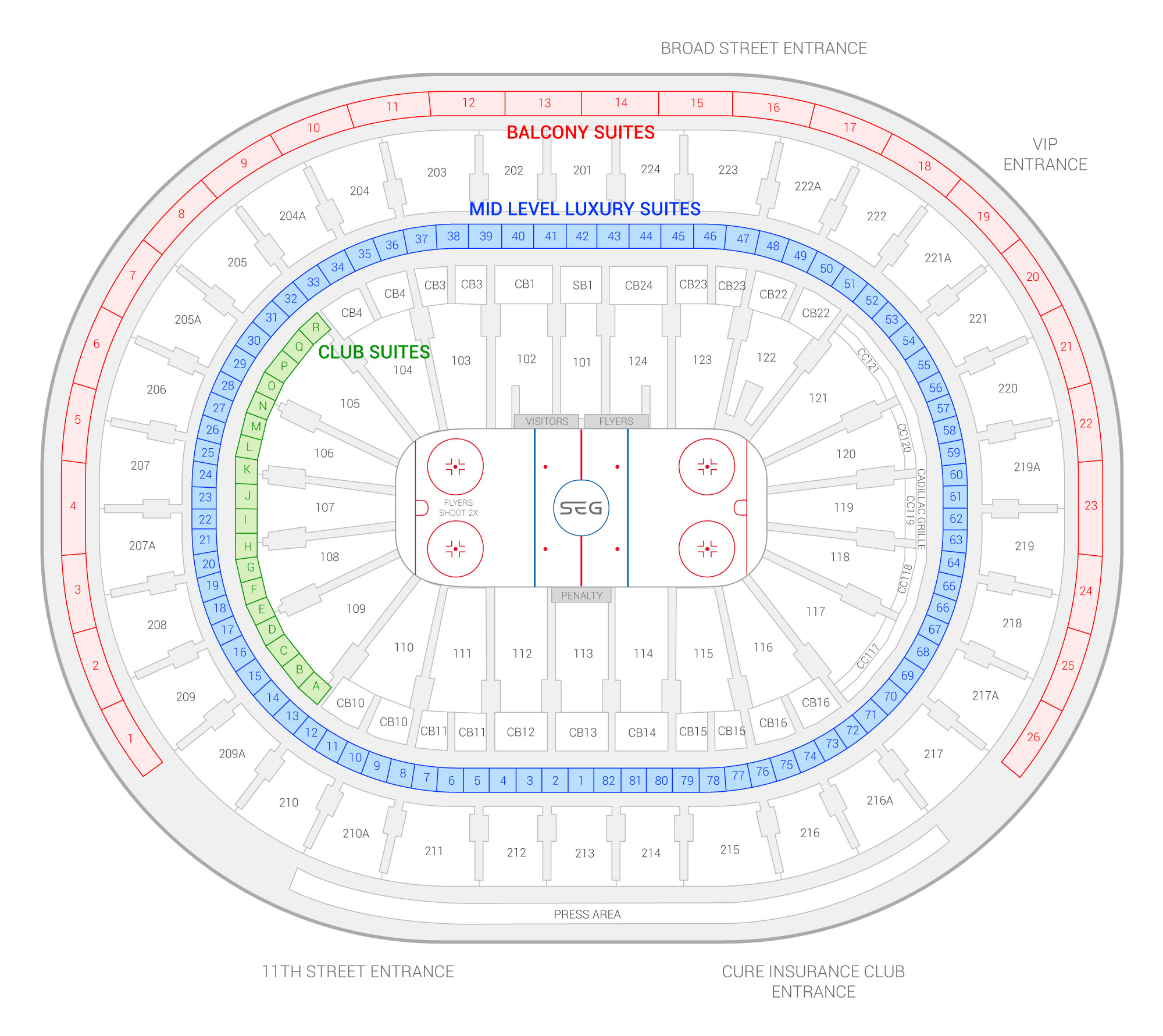 Wells Fargo Center /  Suite Map and Seating Chart