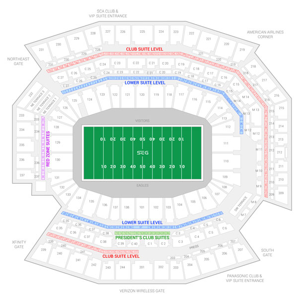 Lincoln Financial Field / Army Black Knights vs Navy Midshipmen Suite Map and Seating Chart
