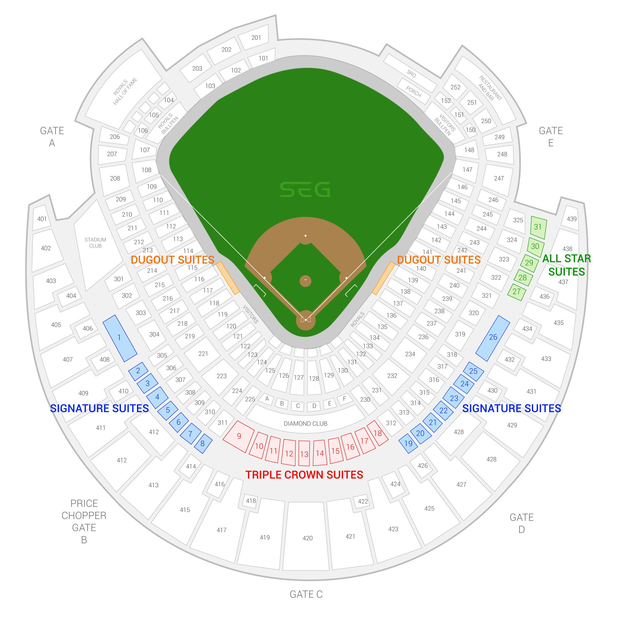 Kauffman Stadium / Kansas City Royals Suite Map and Seating Chart