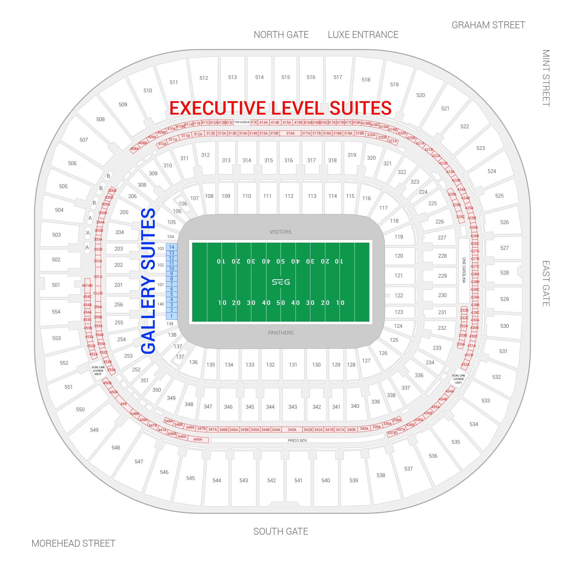 Bank of America Stadium / Carolina Panthers Suite Map and Seating Chart