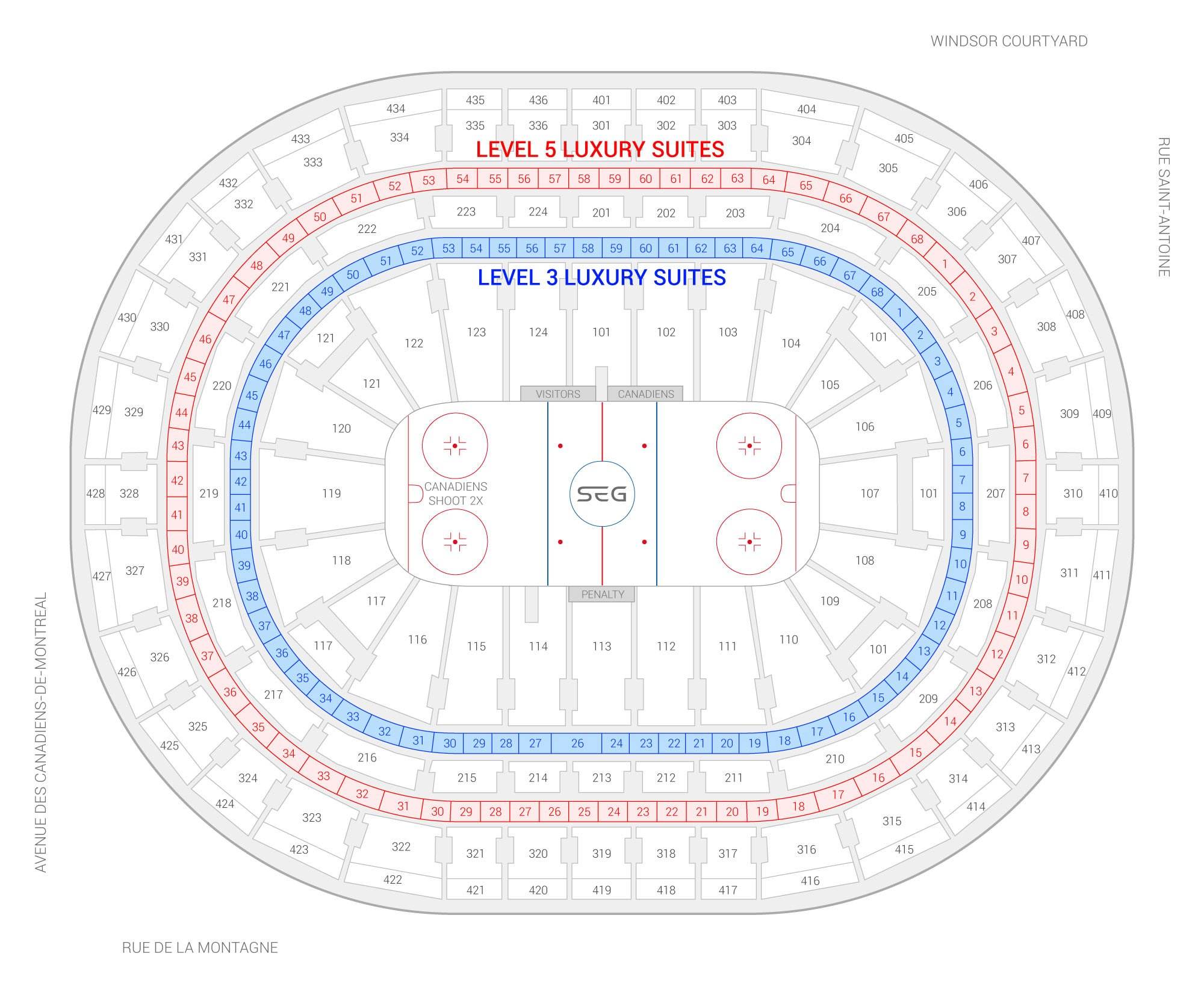 Bell Centre /  Suite Map and Seating Chart