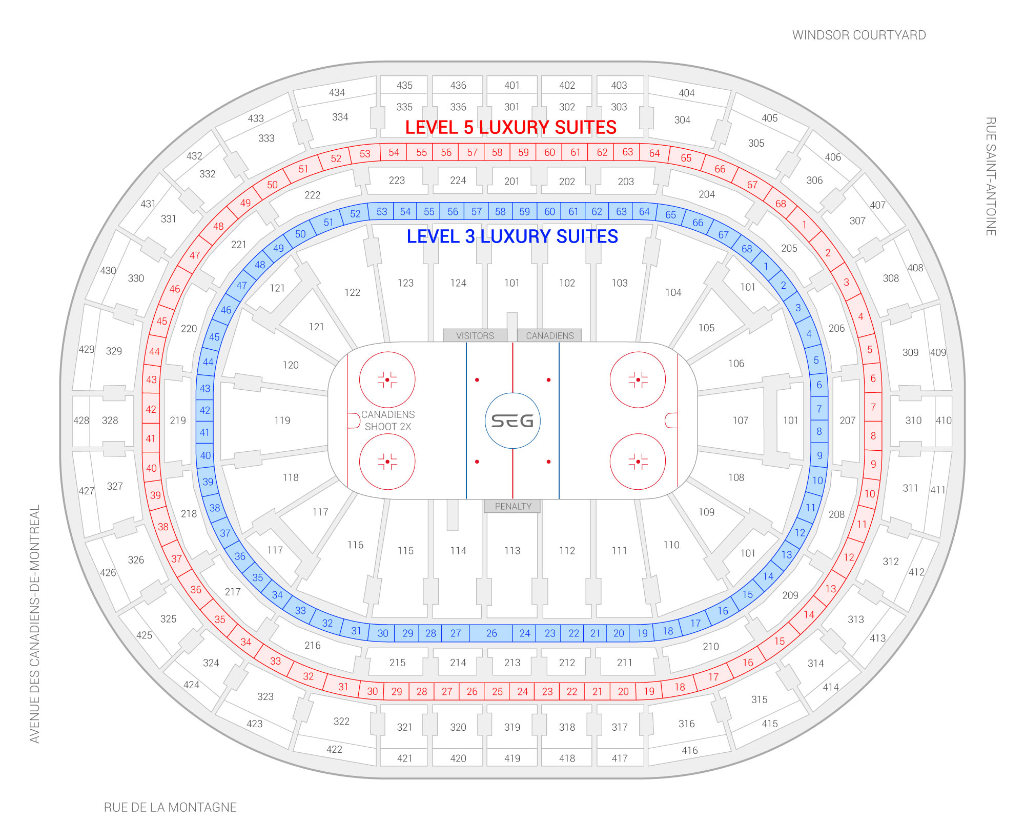 Bell Centre / Montreal Canadiens Suite Map and Seating Chart