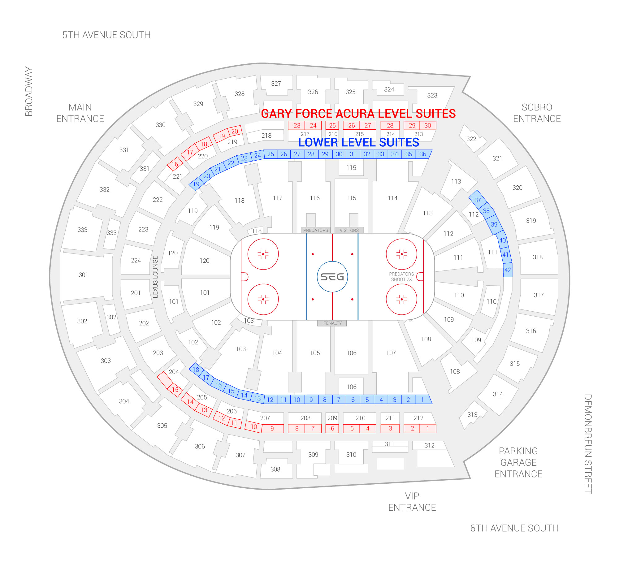Bridgestone Arena / Nashville Predators Suite Map and Seating Chart