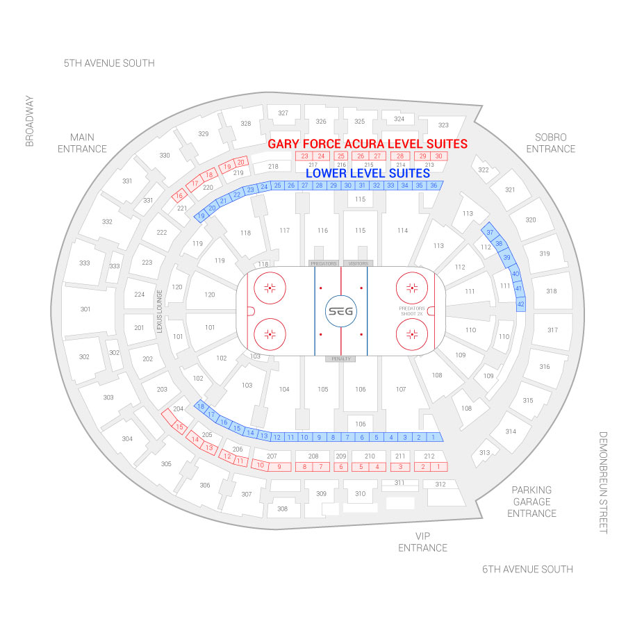 Bridgestone Arena Suite Map And Seating Chart