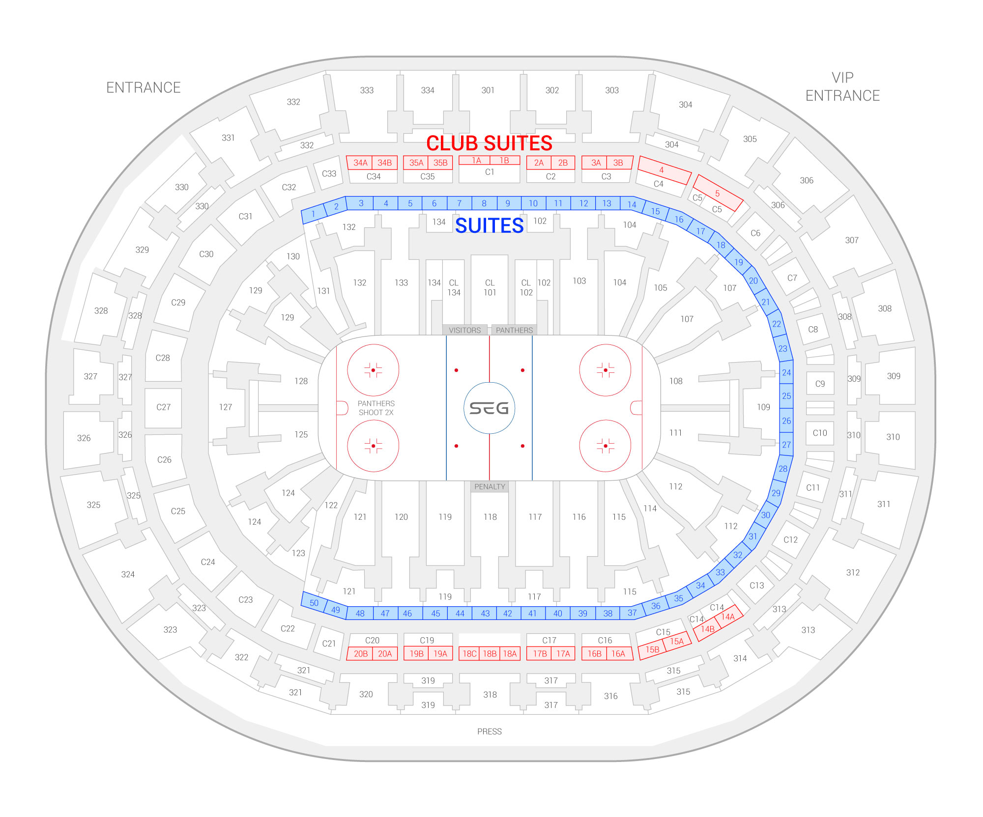 BB&T Center /  Suite Map and Seating Chart